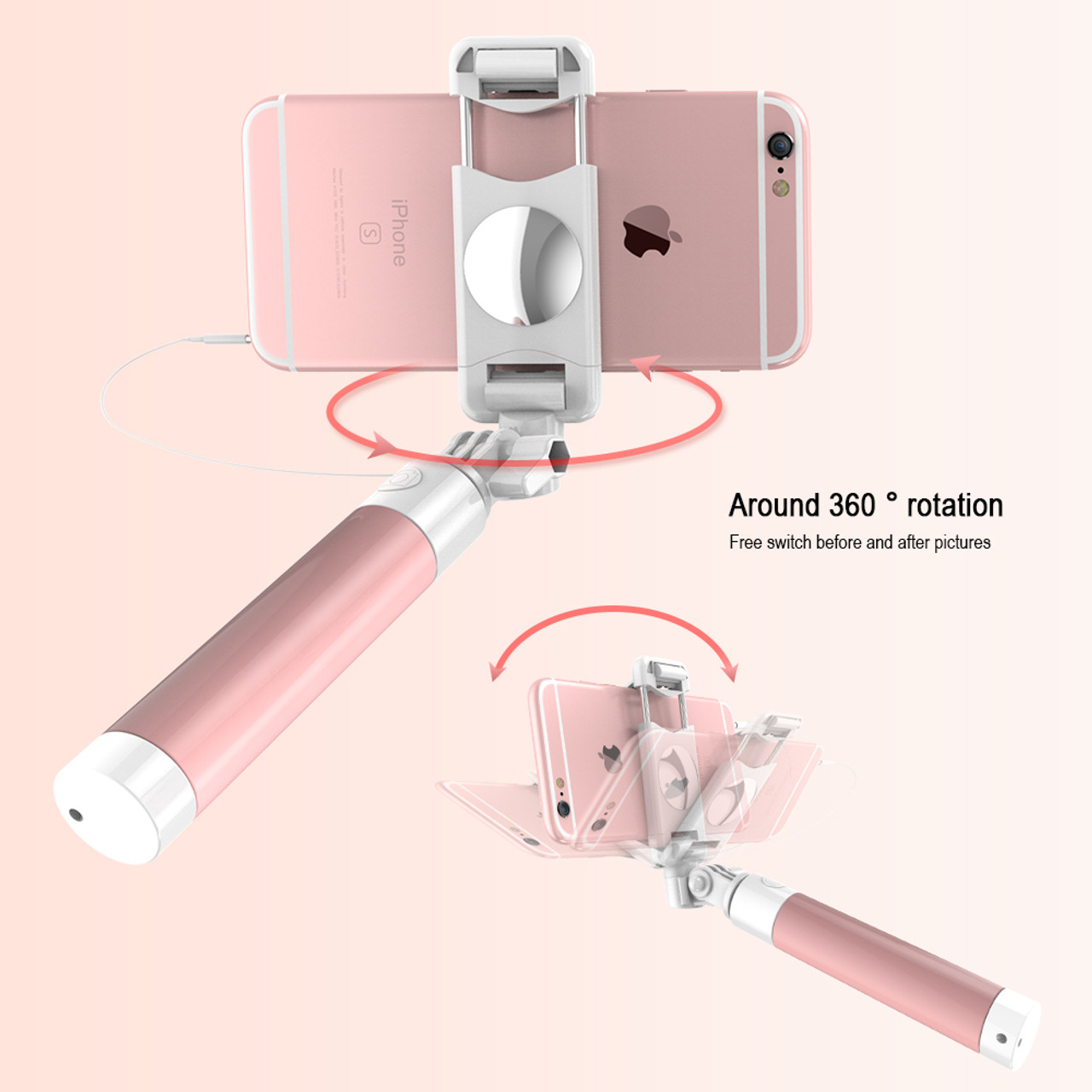 45b44aed5a6247 ... RAXFLY Selfie Stick For iPhone X 8 8 Plus 360 Degree Rotation Foldable  Self Stick Universal ...