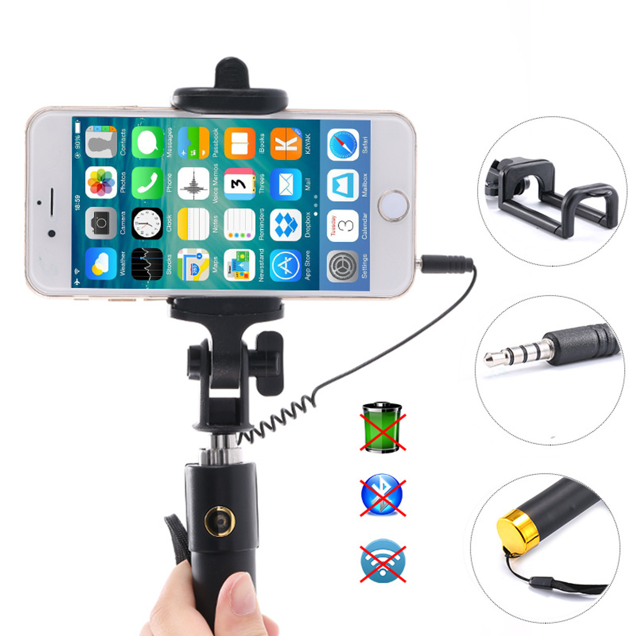 42e9872244fad0 ... Universal Wired Selfie Stick Handheld Monopod For Iphone 6 6s Plus 5s 4  for Samsung Galaxy ...