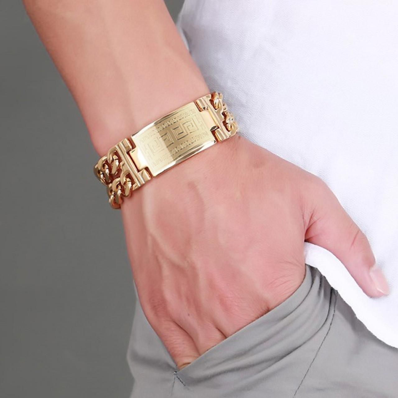 f4cbc0d496c270 ... Men's Greece Key ID Tag Bracelet for Men Stainless Steel Male Double  Cuba Chain Bangles Bileklik ...