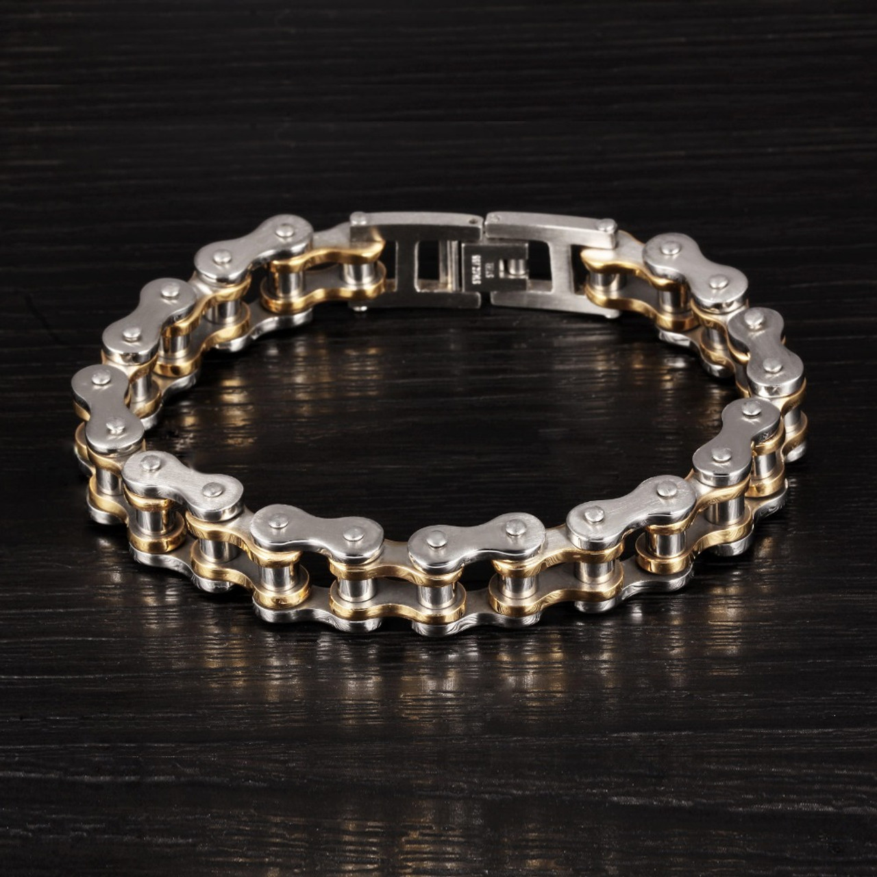 f09a4374cda69 Cool Men Biker Bicycle Motorcycle Chain Men's Bracelets & Bangles Fashion 4  Color 316L Stainless Steel Jewelry,JM781J
