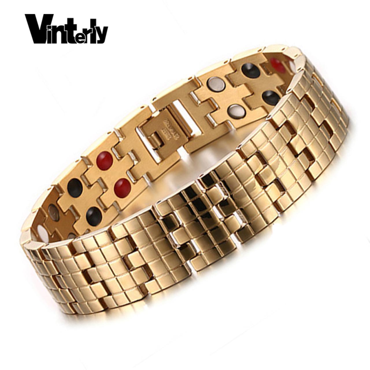 ca89a3aae9fbc Vinterly Gold Color Men Bracelets Health Bio Magnetic Germanium Stainless  Steel Bracelet Bangle for Men Designs ...