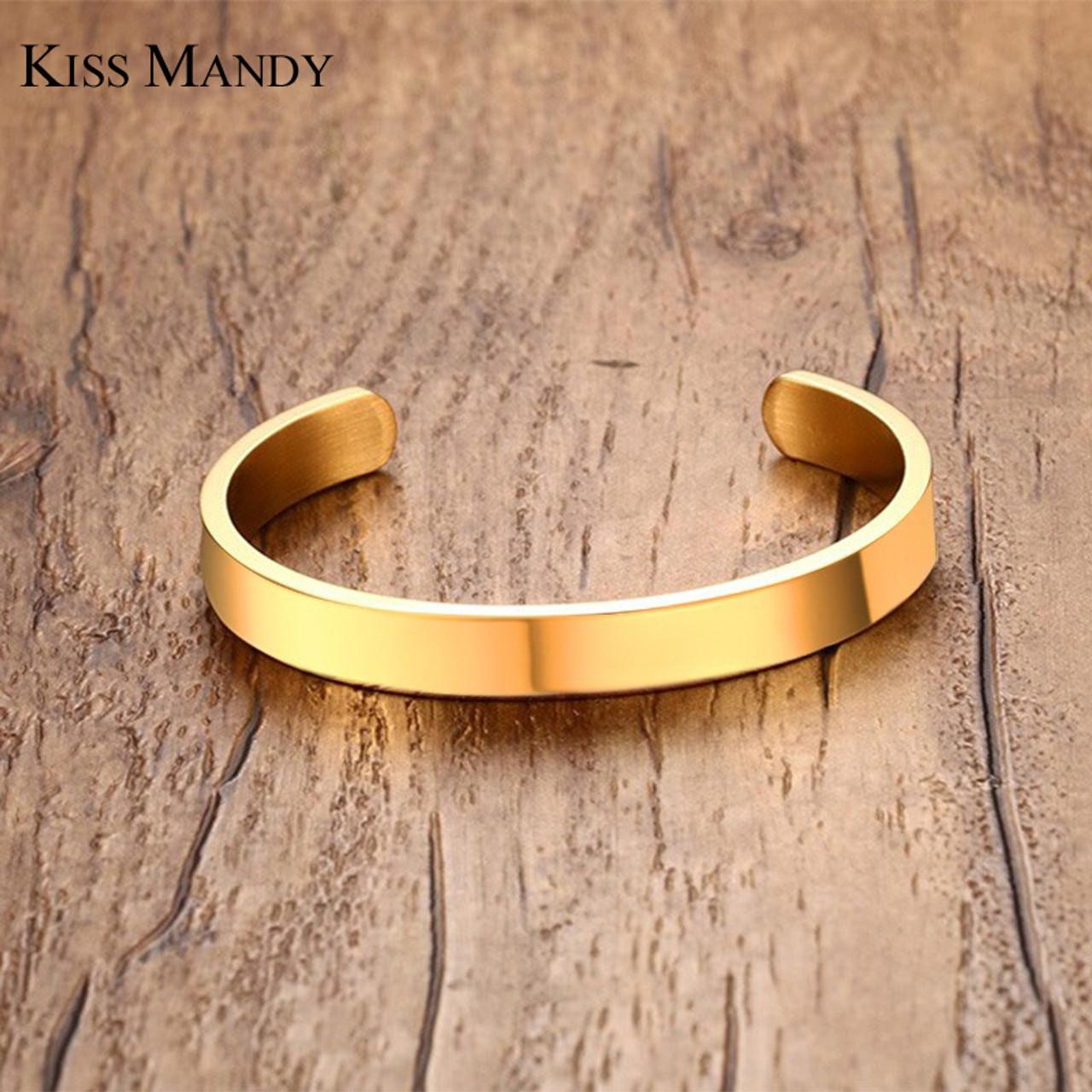 4b5c441e3c4 ... KISS MANDY 8mm Width Surface Men and Women Bracelet & Bangle  Stainless Steel Bracelet Men ...