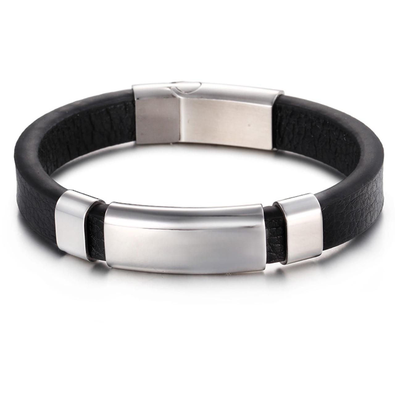 5c5bb8f62 ... TrustyLan Genuine Black Leather Simple Wrap Men Bracelet Gold Color Steel  Wristband Classic Mens Bracelets & ...