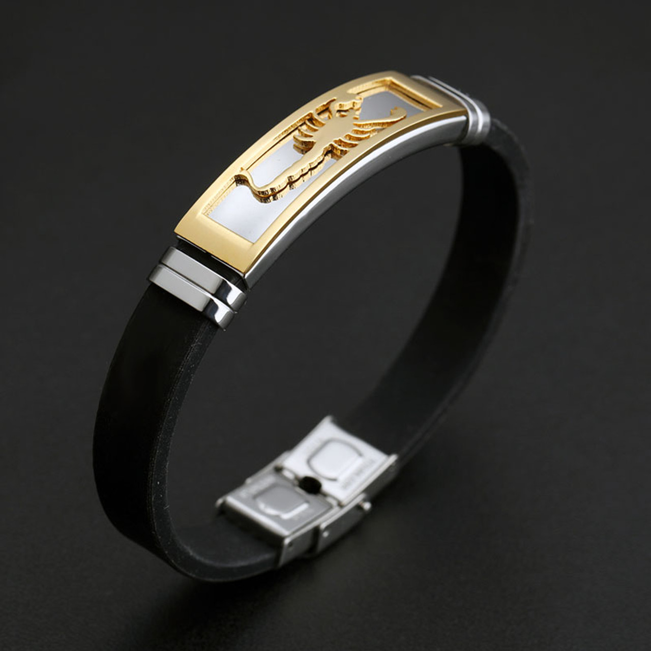 846ce07ff ... V.YA 20CM PU Leather Bracelets Individuality Stainless Steel Scorpion  Bracelet for Men Male Accessories ...
