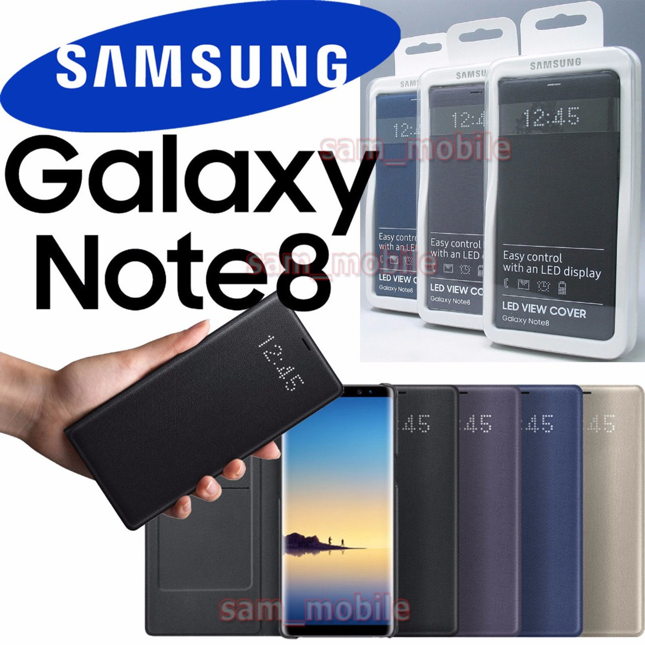 online retailer 697d3 79f87 Original Samsung Galaxy NOTE 8 N950F Intelligent LED View Cover Flip Wallet  Case sleep function Automatic wake screen on feature
