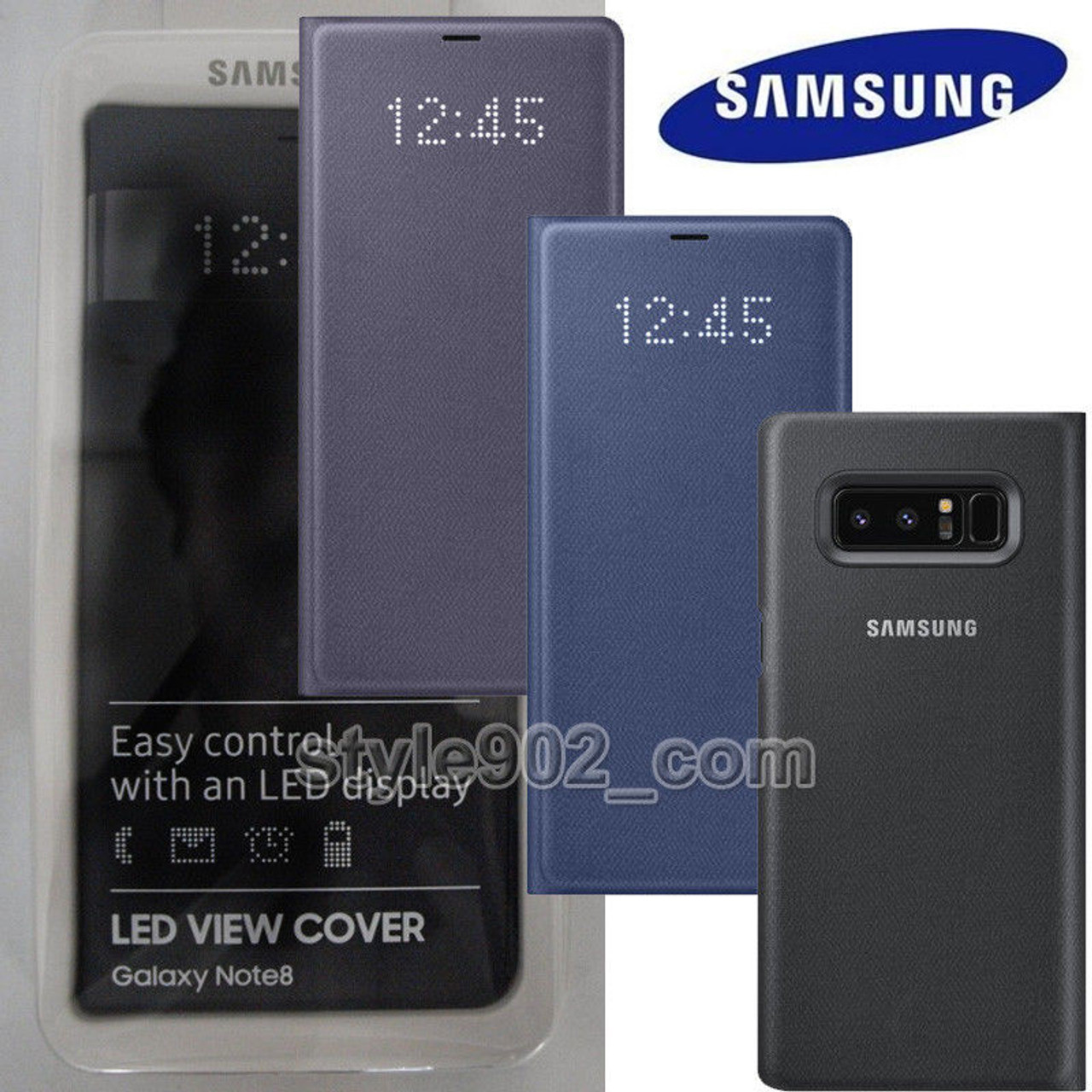 detailed look a52af d57db Original SAMSUNG Galaxy Note8 N950F LED Wallet Cover Case function  Automatic wake screen on feature Blue Black Gray EF-NN950P