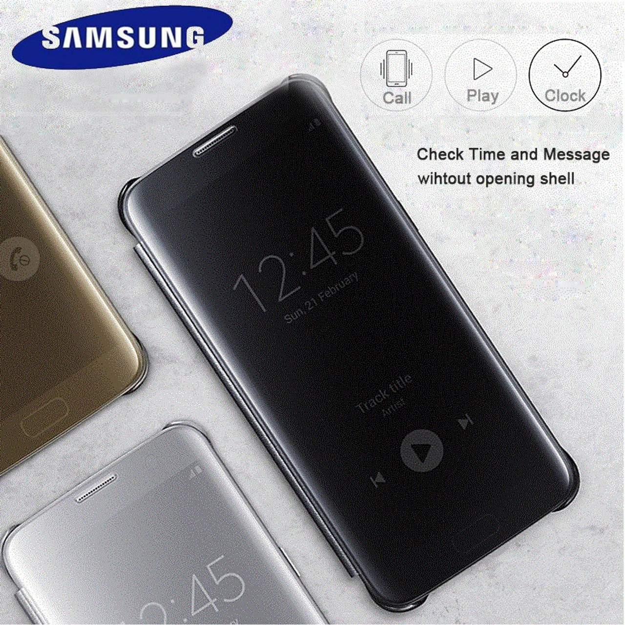 the latest 04747 1d772 Samsung S7 Case Cover Original Mirror Clear View Flip Case For Galaxy S7  G930 S7 Edge G935 lntelligent Sleep Protective Case