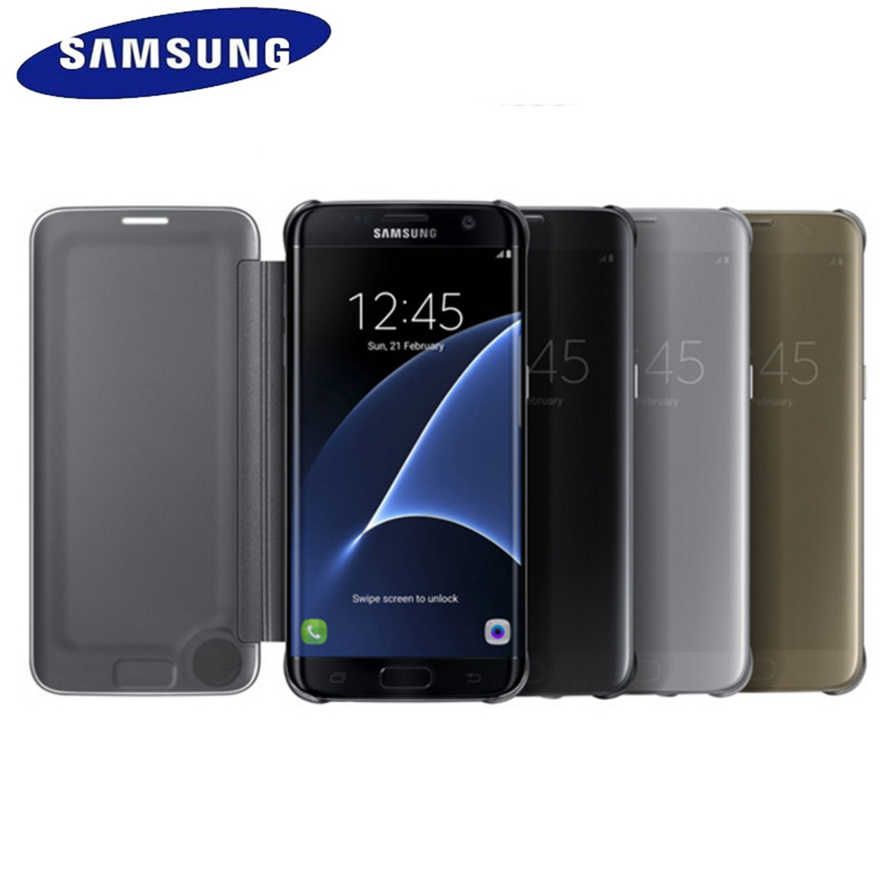 the latest 0668b 94174 Samsung S7 Case Cover Original Mirror Clear View Flip Case For Galaxy S7  G930 S7 Edge G935 lntelligent Sleep Protective Case