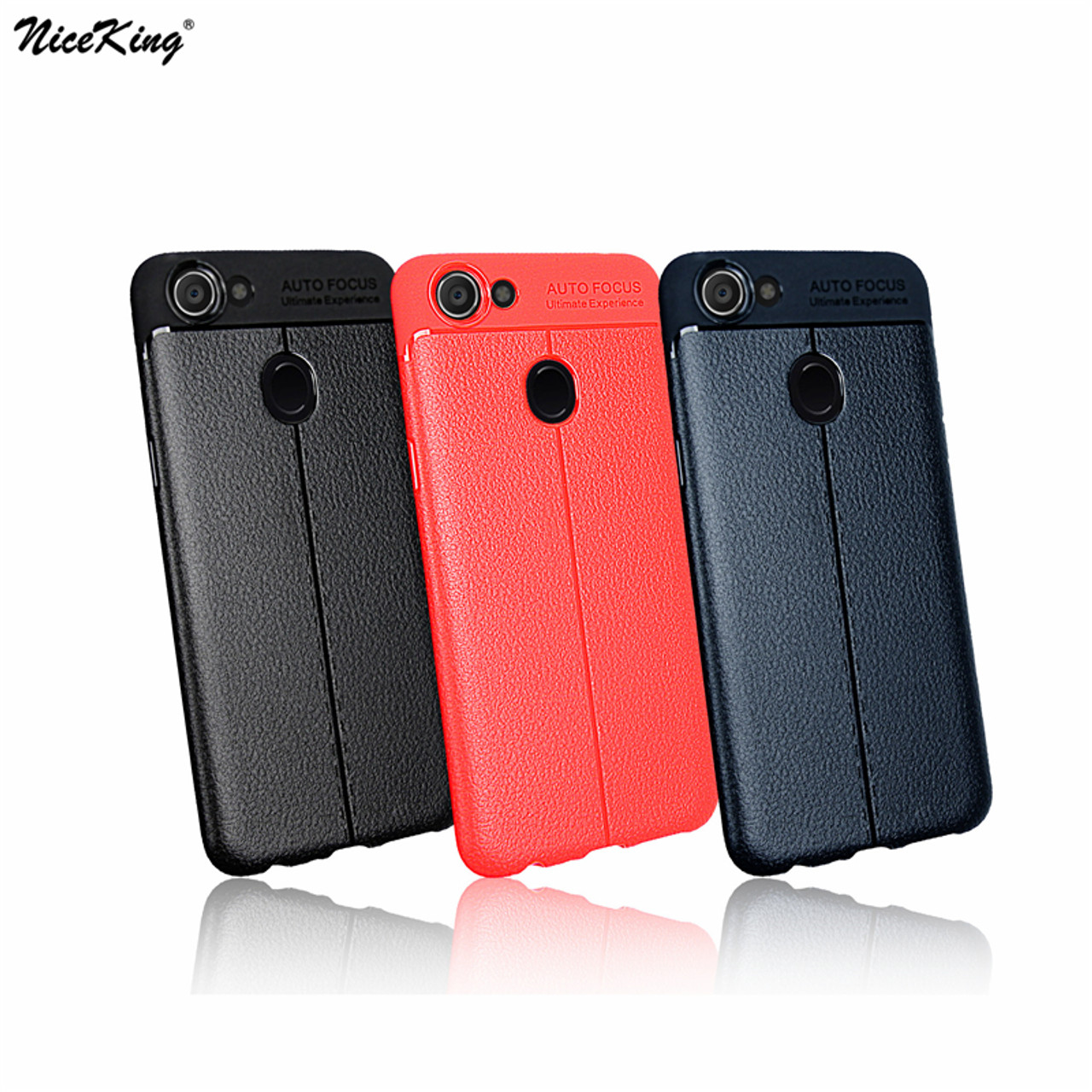 9cbacee72c87f2 sFor OPPO F5 Case NiceKing Litchi Striae Soft TPU Silicone PU Leather Back Cover  Case For ...