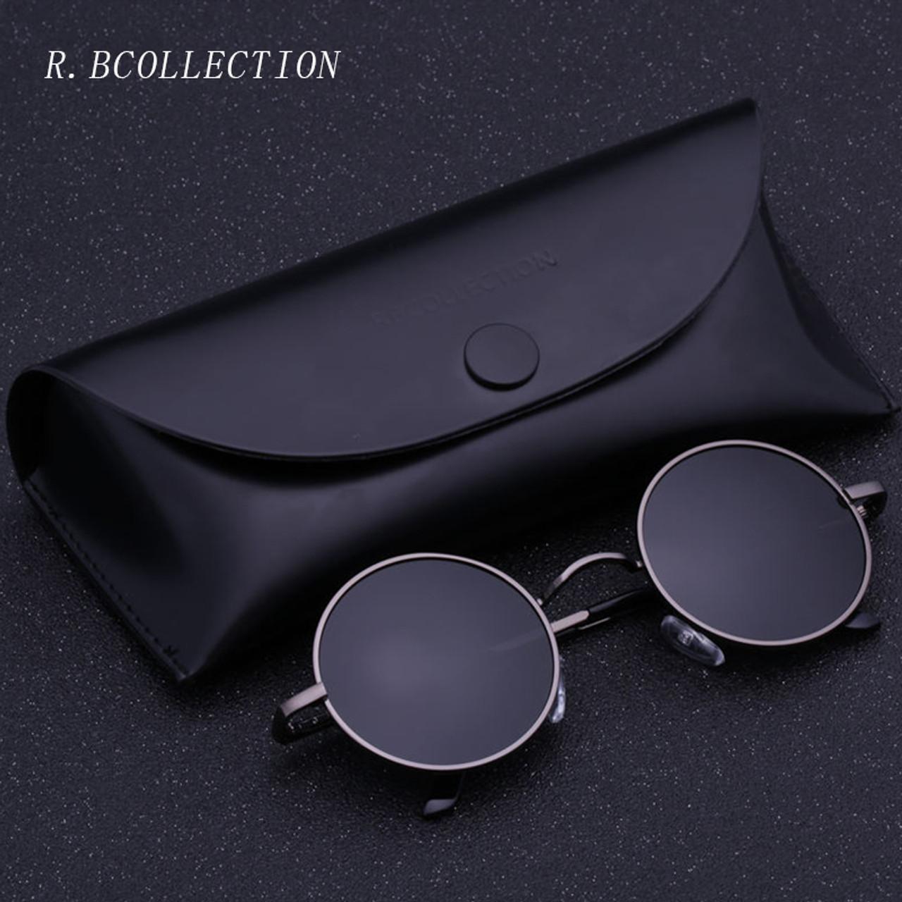 39c5aab34f ... R.BCOLLECTION Steampunk Round Sunglasses Men Women Anti-UV Polarized  Metal Frame Retro Sun ...