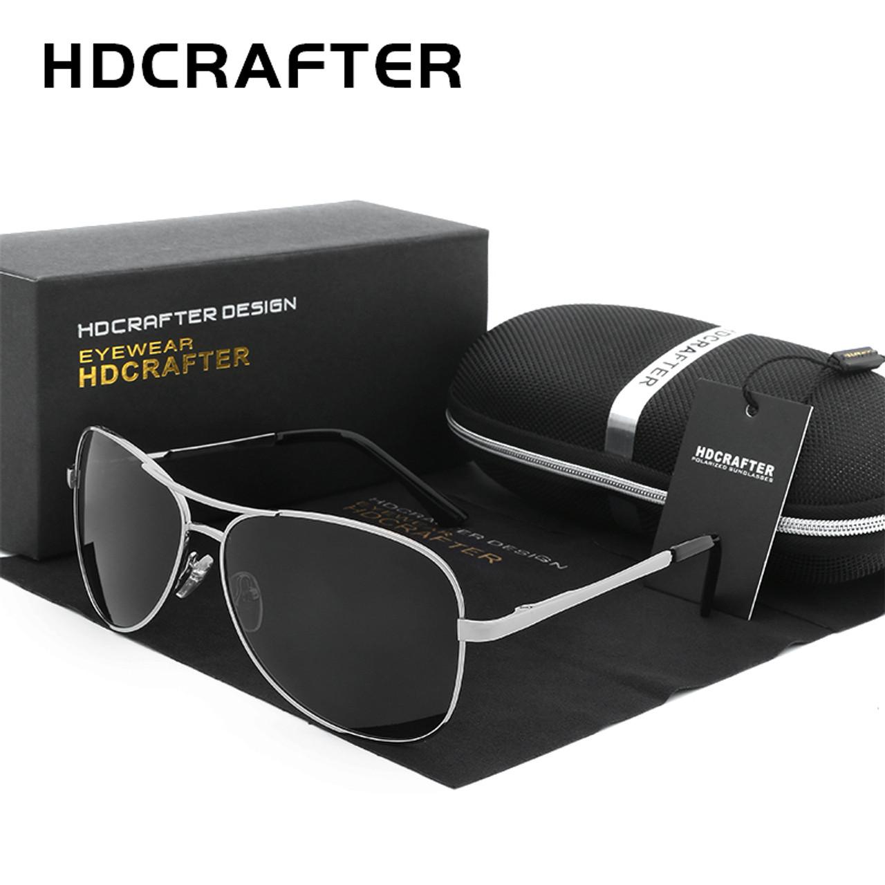 f1fac1d8ac HDCRAFTER Aviator Sunglasses Men Polarized Sun Glasses For Men fashion UV400  driving outdoor sunglasses with box ...