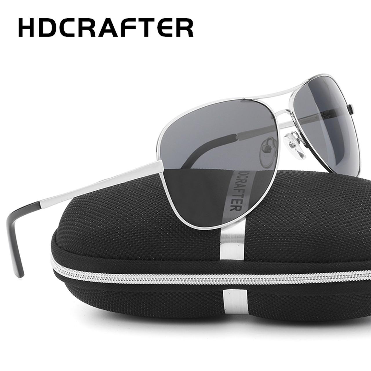 7b61af1f8e ... HDCRAFTER Aviator Sunglasses Men Polarized Sun Glasses For Men fashion  UV400 driving outdoor sunglasses with box ...