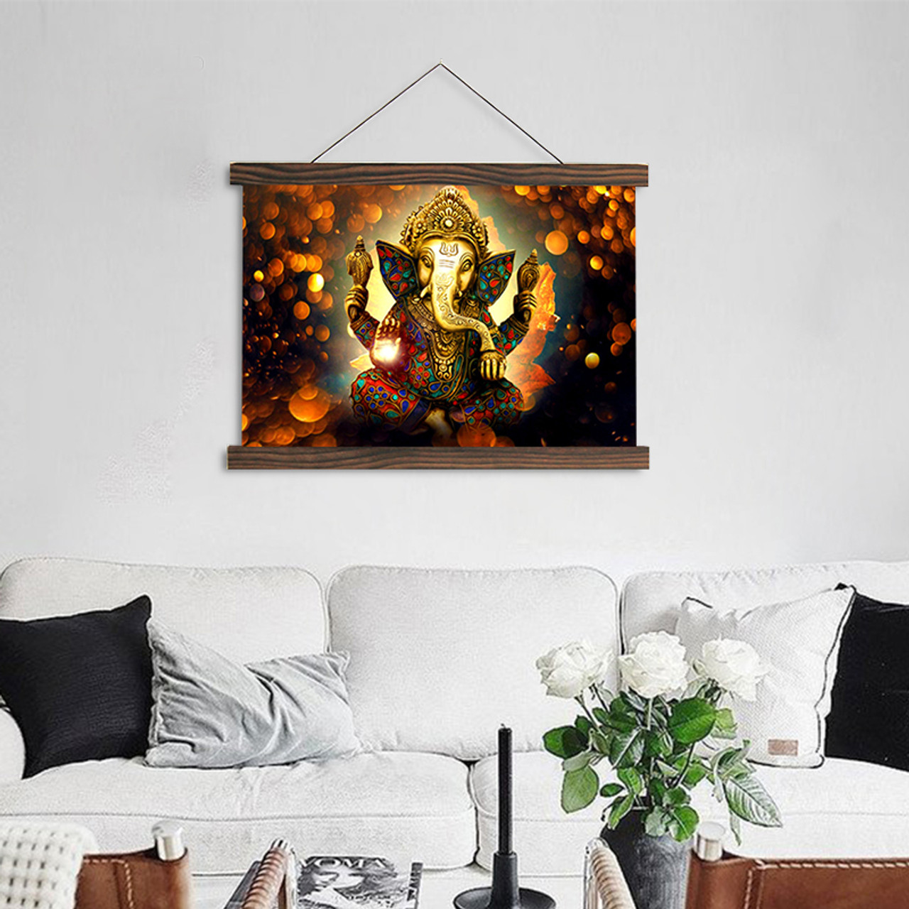 Scroll painting modern wall art hanging canvas painting The Hindu God  Ganesh HD printed pictures for living room decoration