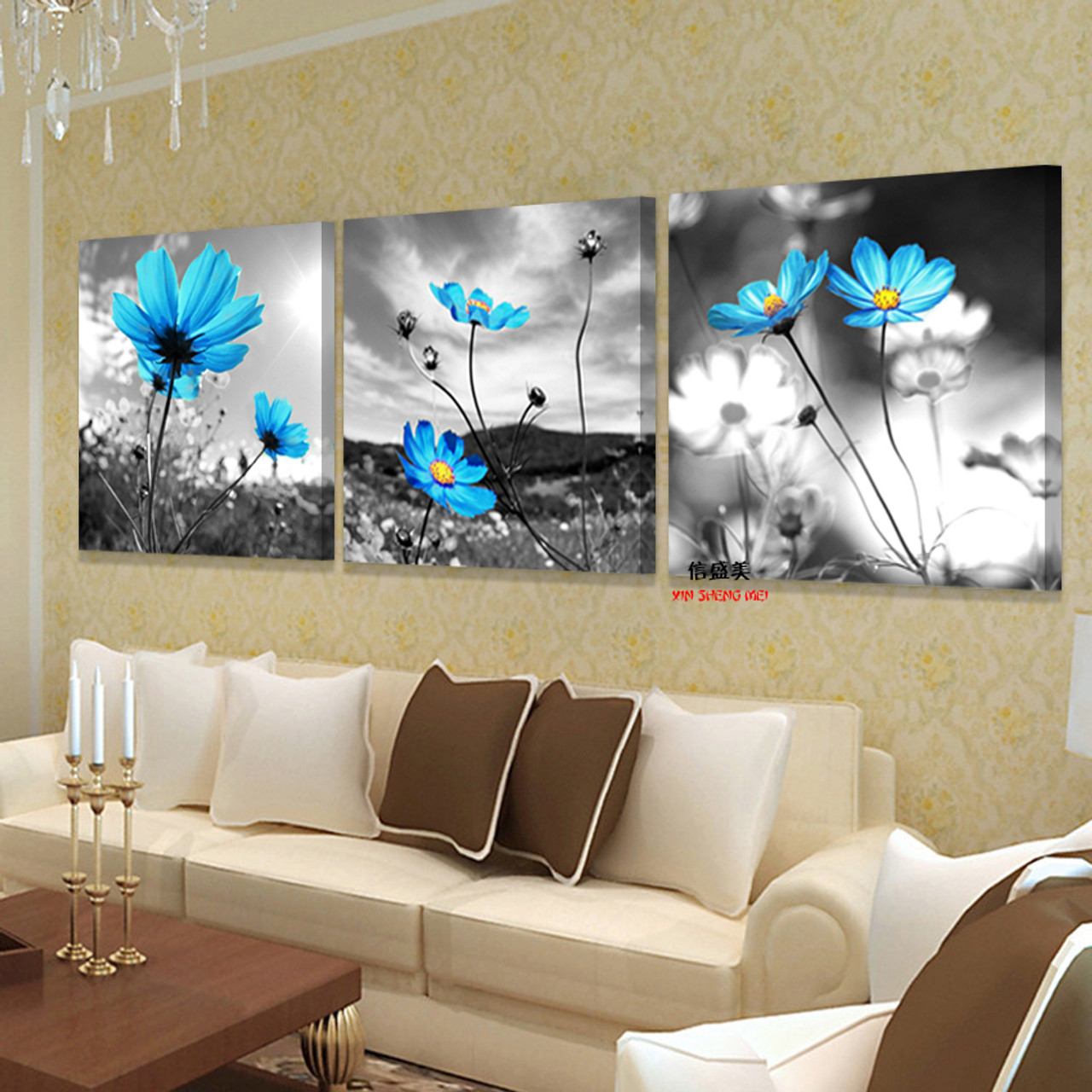 3 Piece Hd Print Canvas Modern Schilderij Flowers Oil Paintings Painting Wall Art Bedroom Cuadros Decoracion Picture No Frame