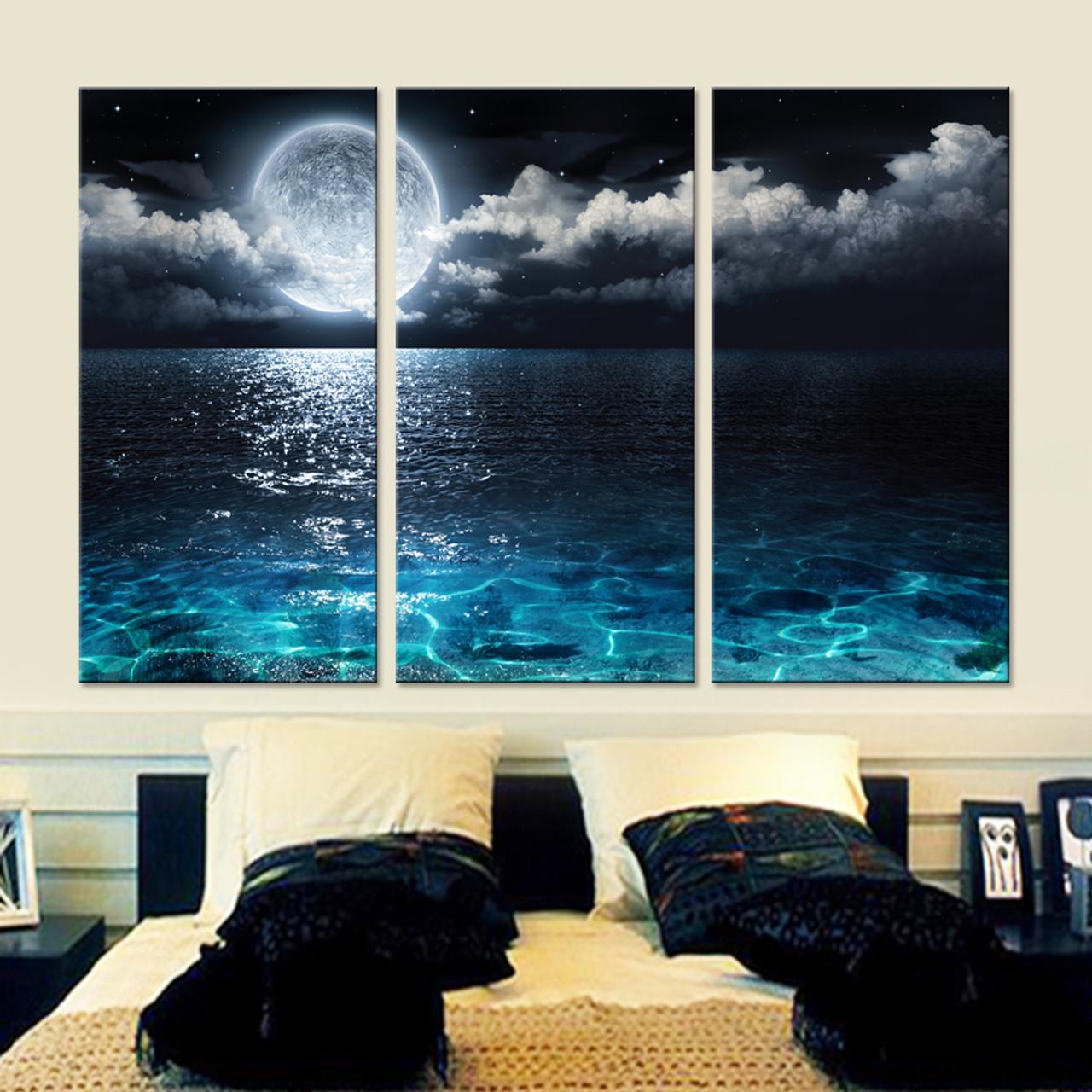 Home Art Wall Decor Ship Moon Stars Sky Ocean Sea Oil Painting Printed On Canvas