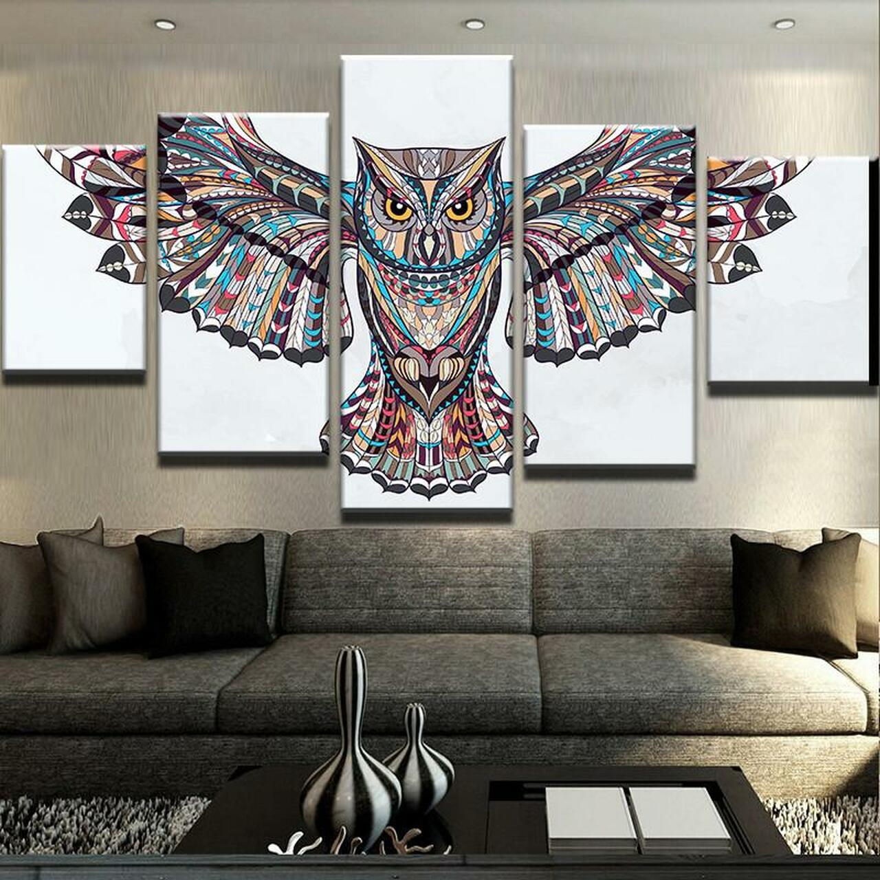 82aad785119 wall decor HD Printed printed Painting 5 Piece Canvas Art NATIVE INDIAN OWL  CANVAS SET for ...