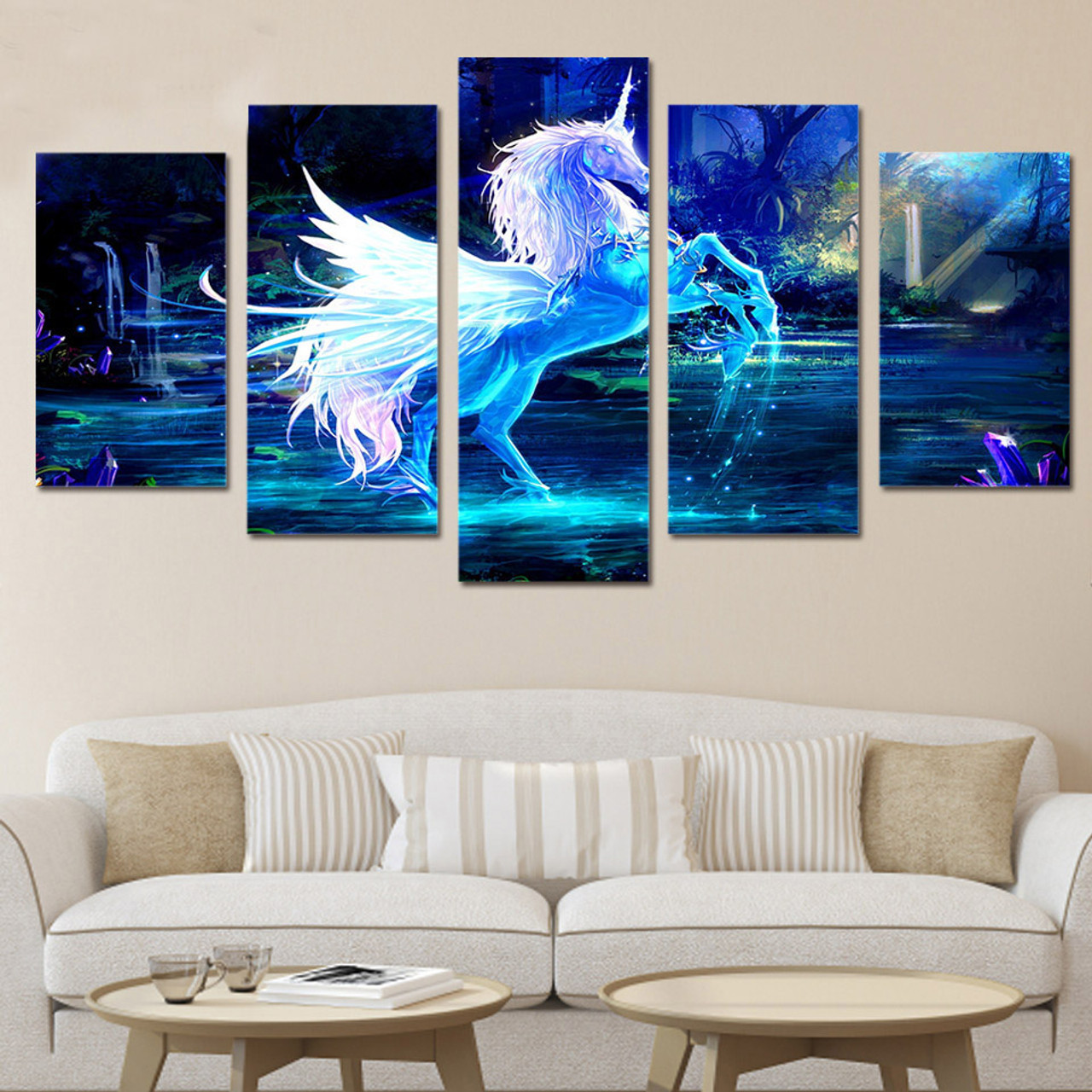 09453392168e9 HD Printed 5 Piece Canvas Sets Art Unicorn Horse Painting Canvas Pictures  for Living Room Free Shipping
