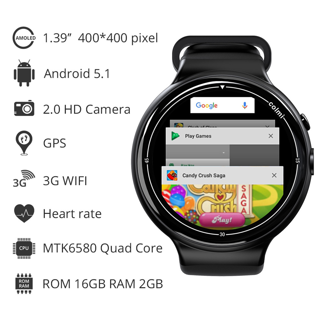 634a54b93 ... Colmi i2 Smartwatch Android 5.1 OS 2GB + 16GB 2MP WIFI 3G GPS Heart  Rate Monitor ...