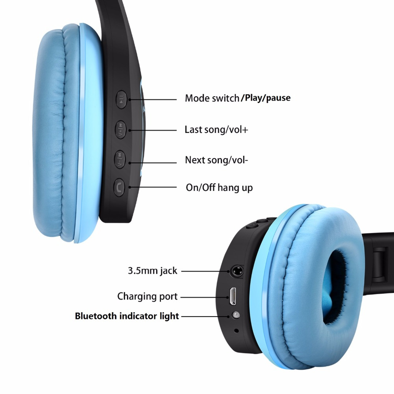best service 800b1 cceac TOPROAD Bluetooth Headphone Foldable Wireless Stereo Headset Over the Ear  Earphone Support AUX Handsfree for iPhone Phones PC