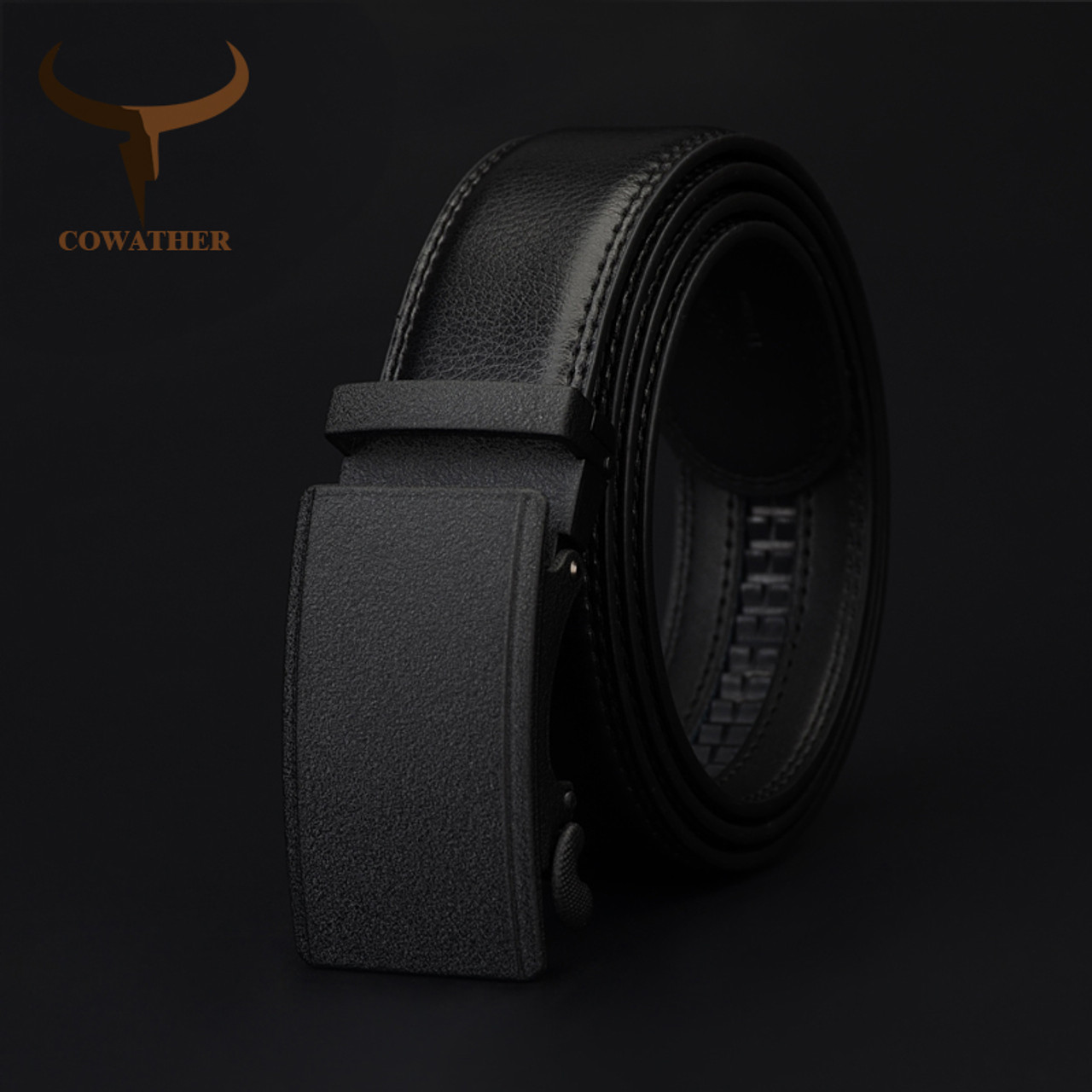 COW genuine Leather Belts for Men High Quality Brand Automatic Ratchet Buckle