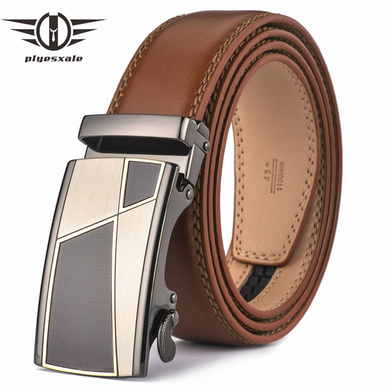 a61910f2d8bc4 Plyesxale Automatic Buckle Brown Belt Men 2018 Brand Designer Mens Belts  Luxury Genuine Leather Belt For ...