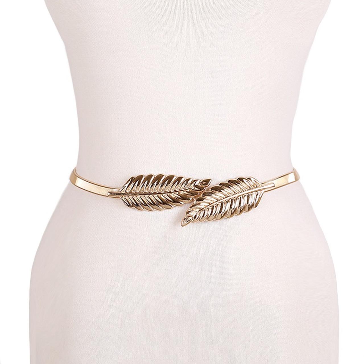 5a0423d81a5 gold silvery leaf shape Wedding designer Elastic belts for women  girl,Stretch Skinny Waist Belt Cummerbunds metal female belt