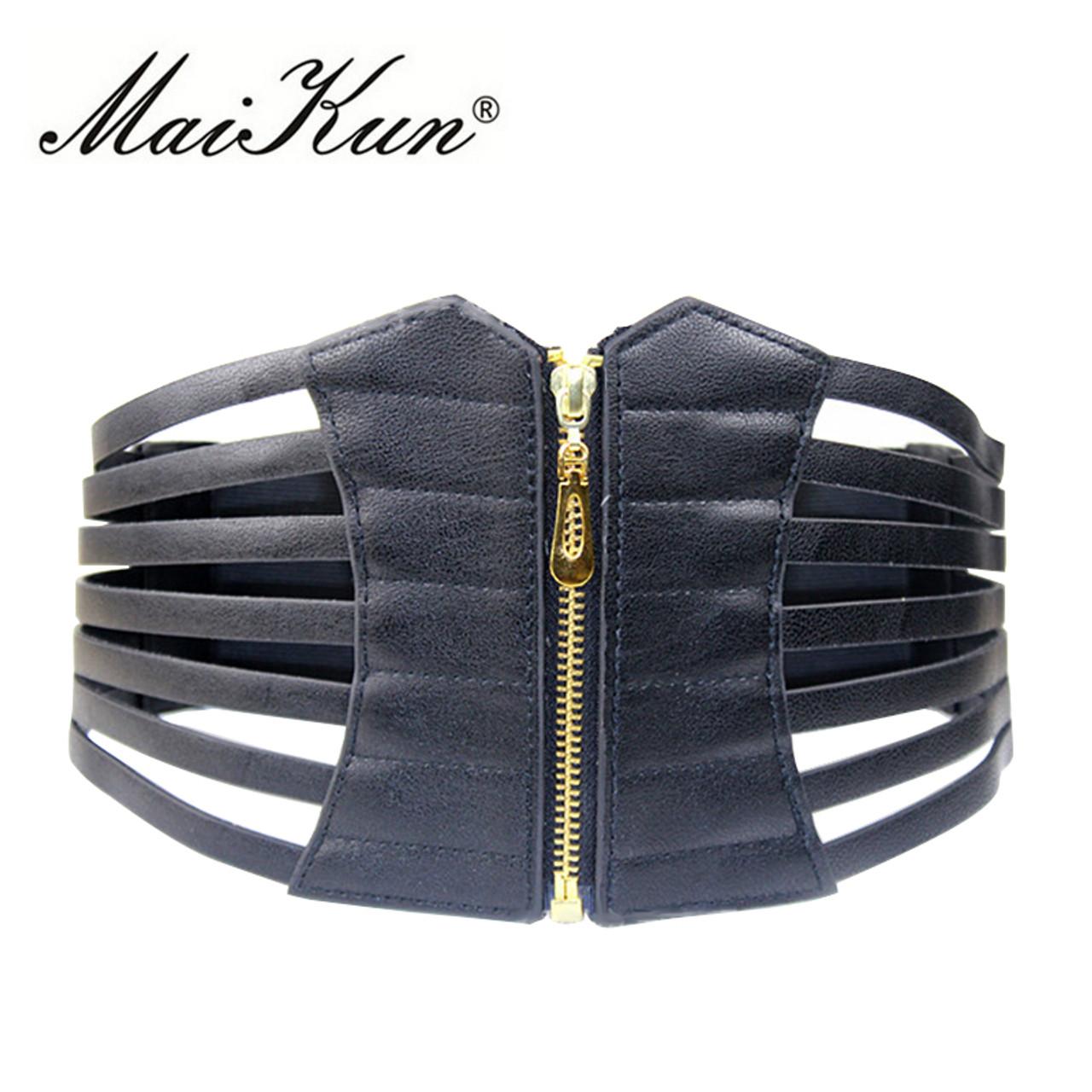 5841c8b846 New Ultra Wide Belts for Women Adjustable Body Shape Black Faux leather  Retro Design Elastic Female ...