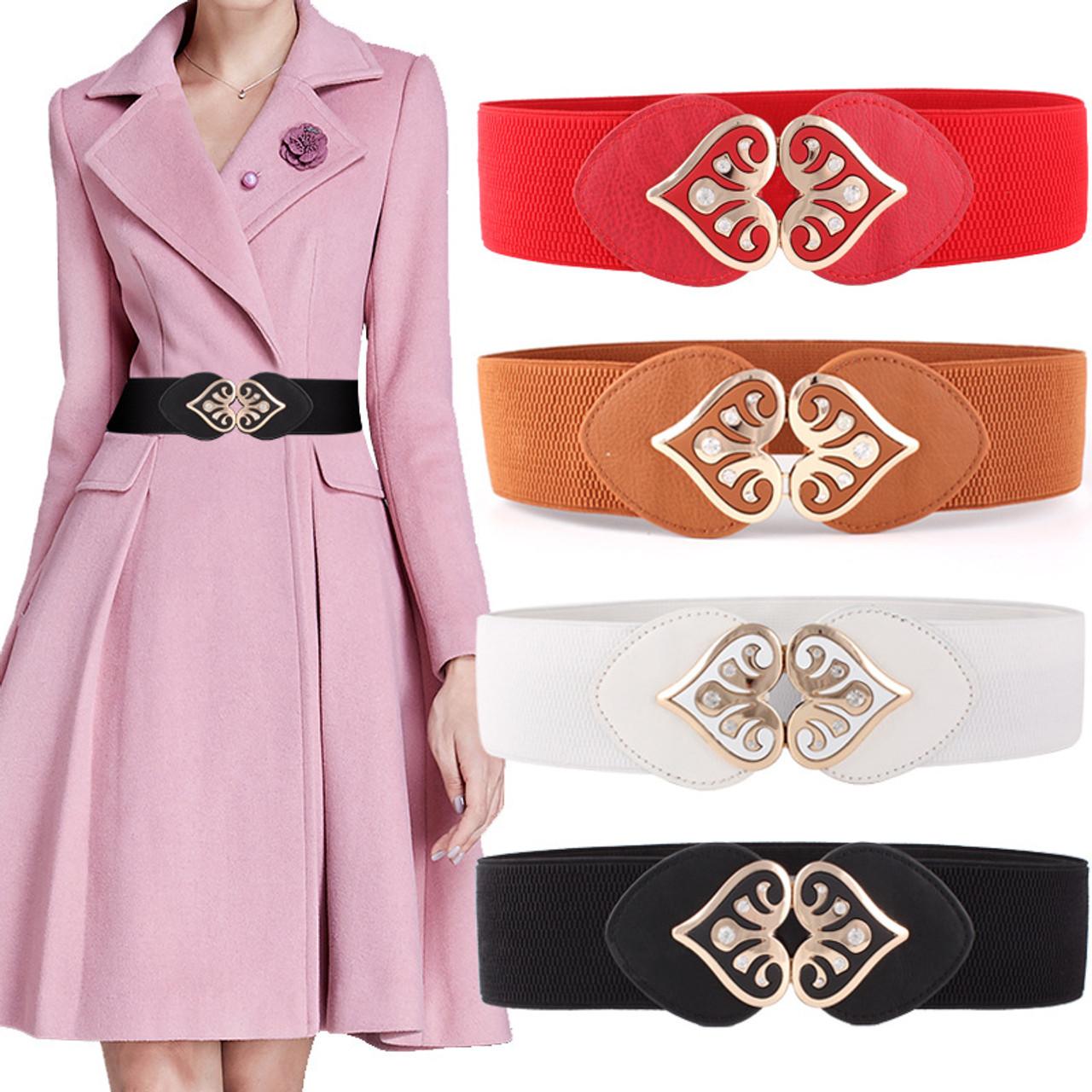 8281d433ddabf wide pu leather heart shape rhinestone designer Elastic belts for women, Elastic Tight High Waist ...