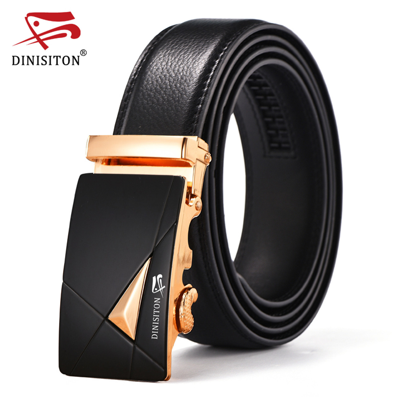 Luxury Causal Automatic Black Buckle Mens Belt Genuine Leather Waistband 050