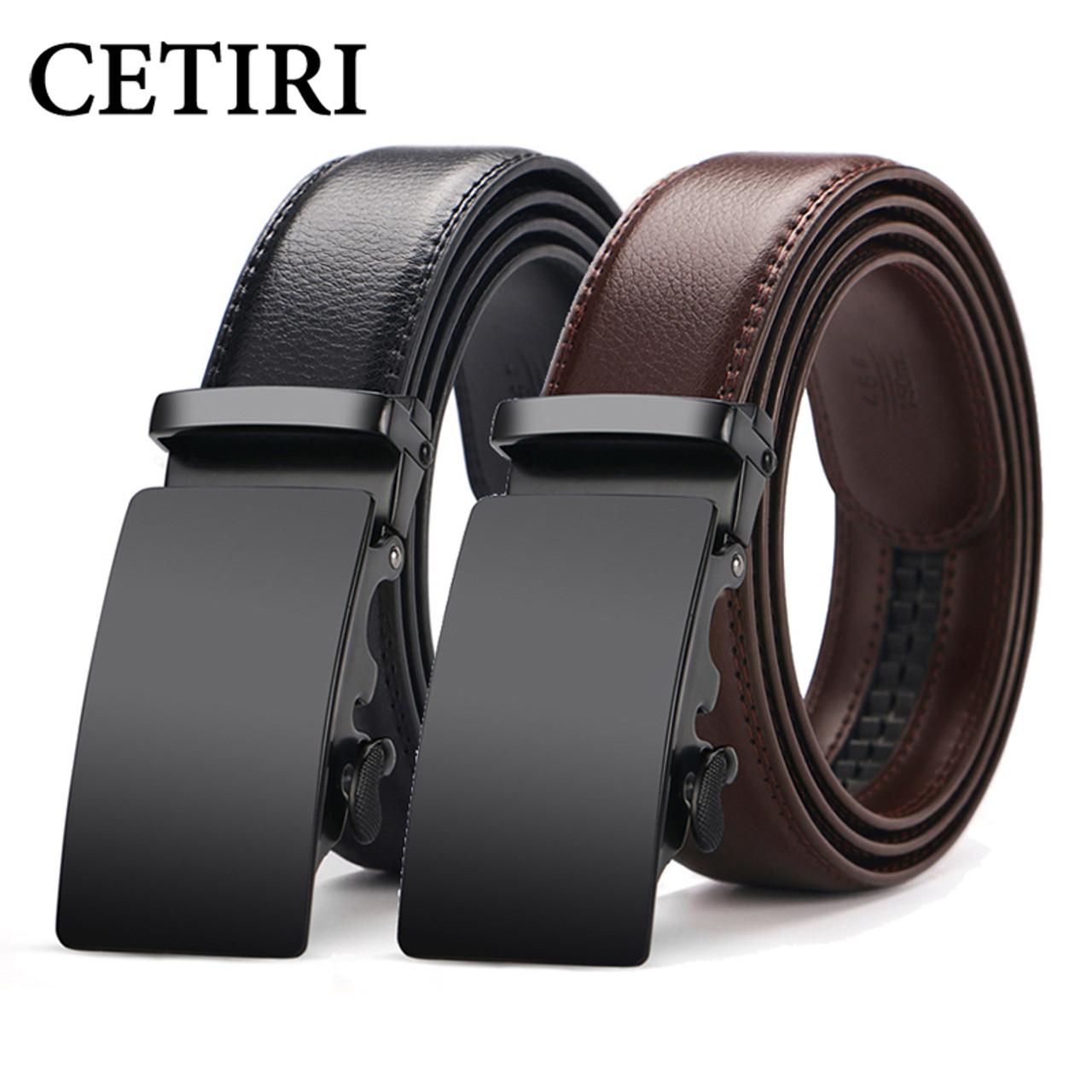 Designer Automatic Buckles Mens Belts Blue Genuine Leather Ratchet Waist Straps