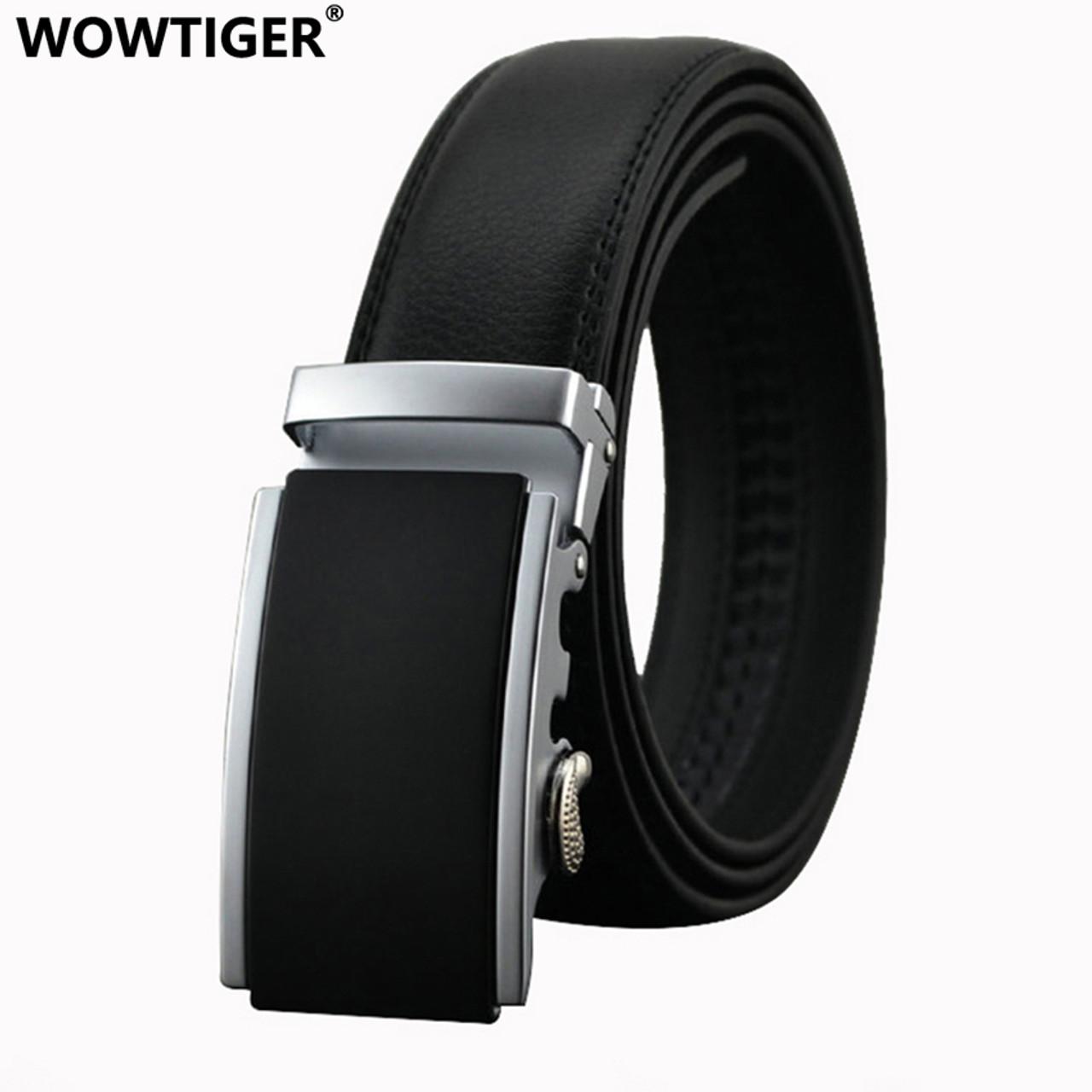 26a2f355fae WOWTIGER Belt New Male Designer Automatic Buckle Cowhide Leather men belt  110cm-130cm Luxury belts ...