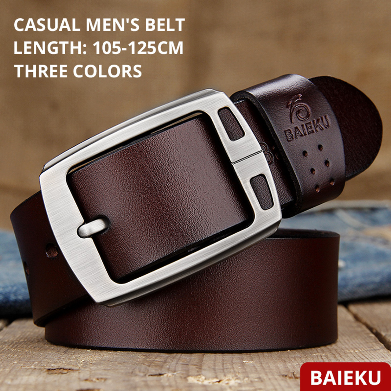 f65e18ec40e9 ... BAIEKU cowhide genuine leather belts for men brand Strap male pin  buckle fancy vintage jeans cintos ...