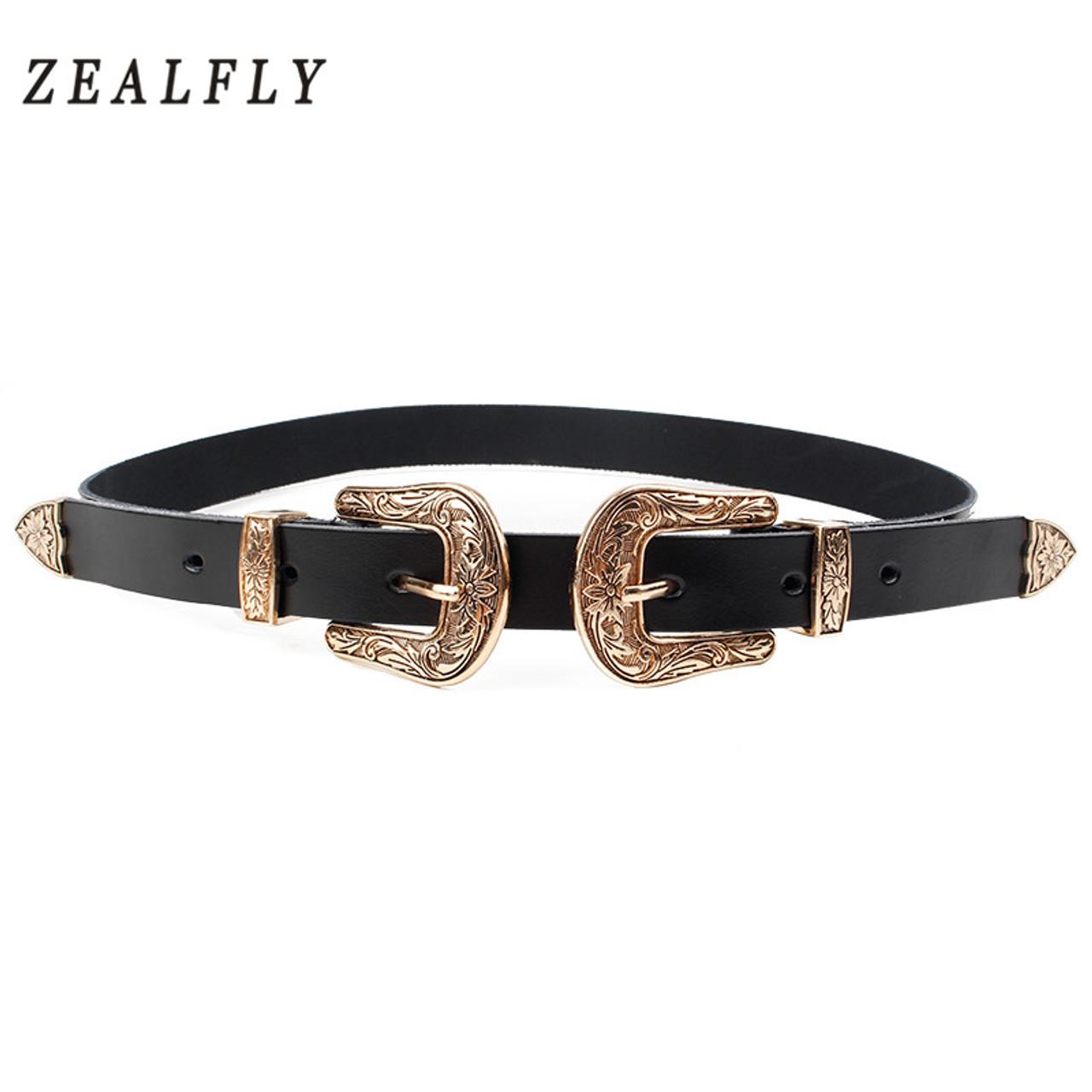99b69d00c ... Carved Double Metal Pin Buckle Women Belts Vintage High Quality Brand  Designer Belt Jeans Genuine Leather ...