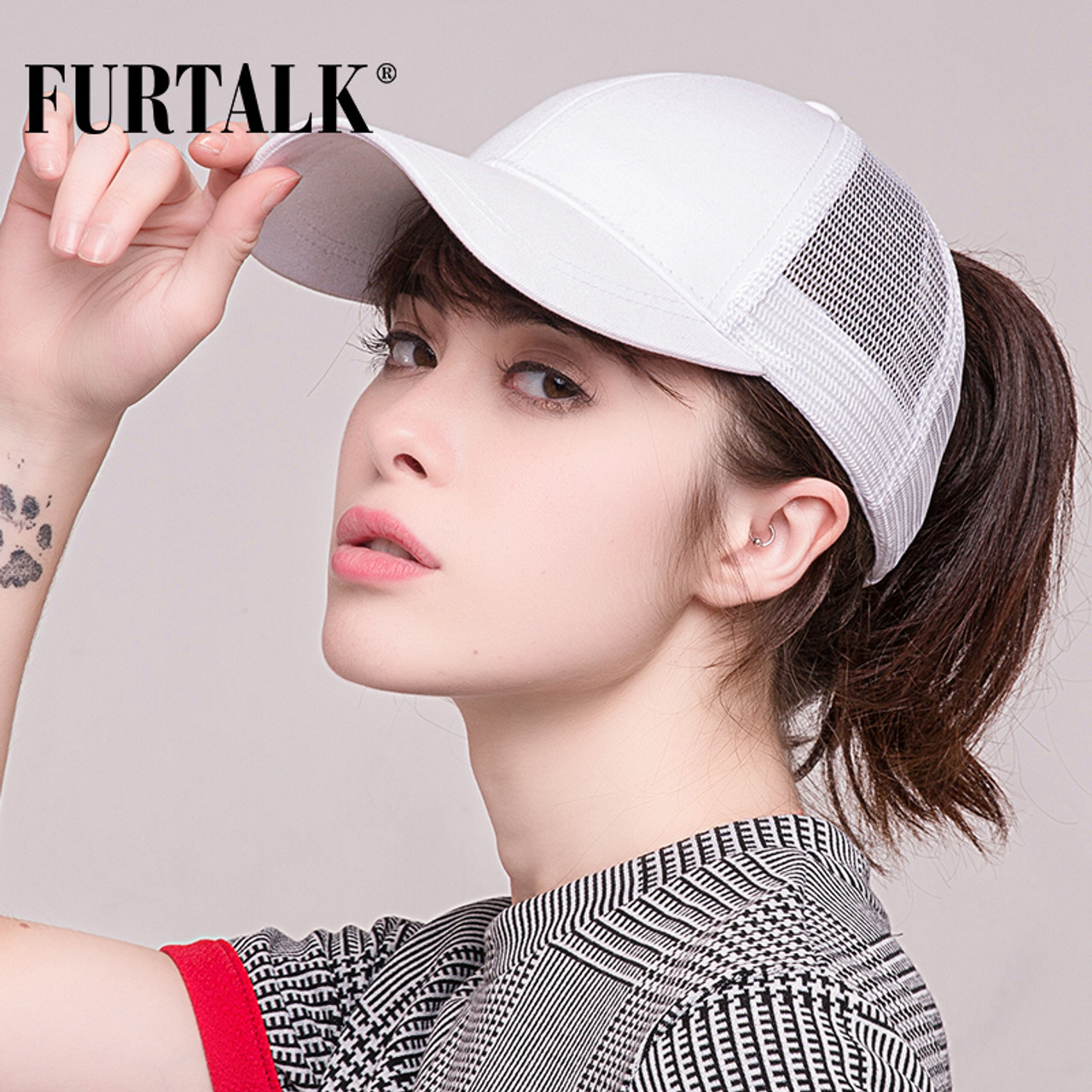 8f247b94931 FURTALK 2018 Ponytail Baseball Cap Women Messy Bun Baseball Hat Snapback ...