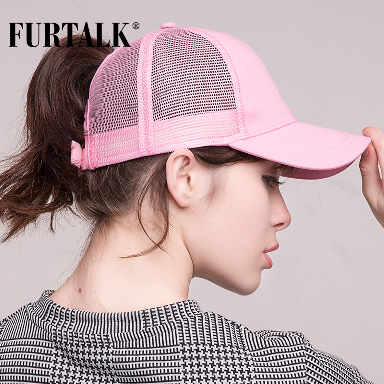 7404de994eb ... FURTALK 2018 Ponytail Baseball Cap Women Messy Bun Baseball Hat  Snapback ...