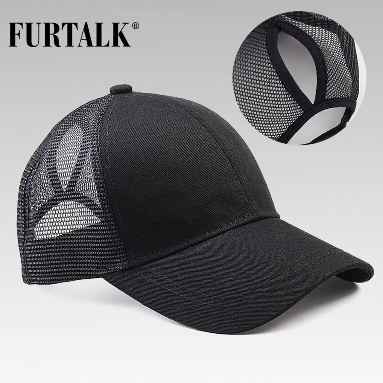 21b4418817a ... FURTALK 2018 Ponytail Baseball Cap Women Messy Bun Baseball Hat Snapback  ...