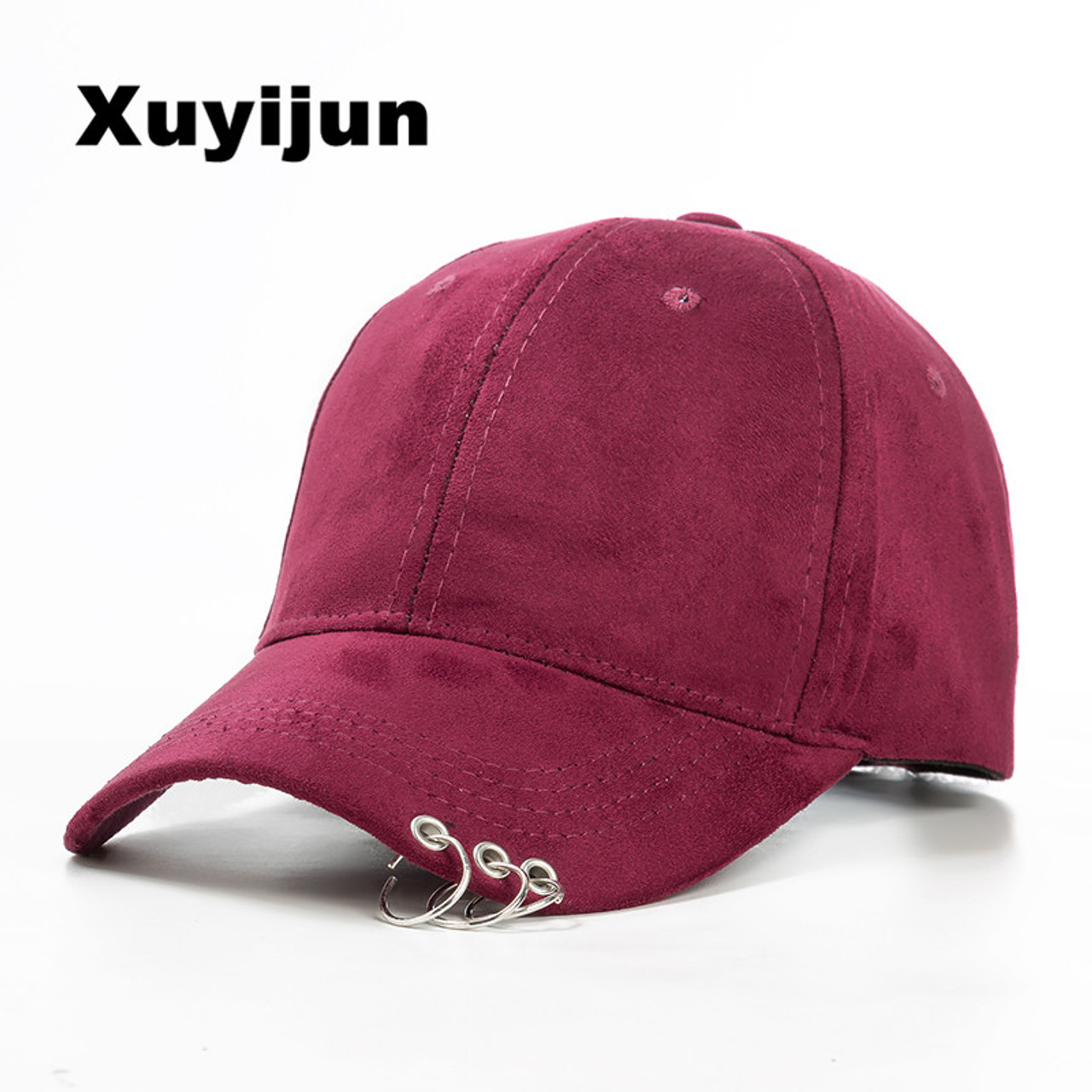 ab648cb3340 XUYIJUN 2018 winter unisex solid Ring Safety Pin curved hats baseball cap  men women Suede snapback caps casquette gorras - OnshopDeals.Com