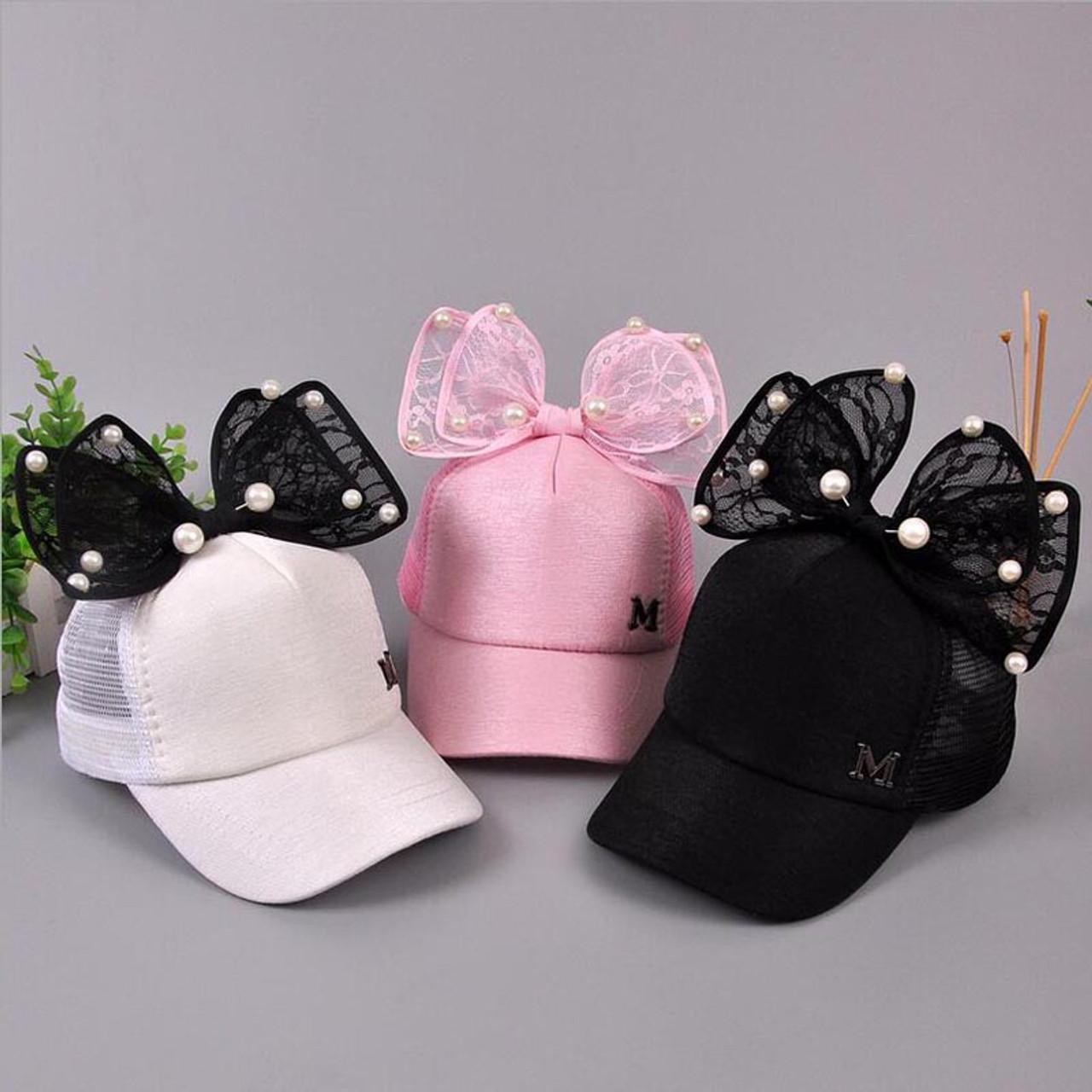 2017 Big Bow New Baseball Cap Lovely Korea Kids Girls Adjustable Net Cap  Fashion Cartoon Patten Children Hats Bone - OnshopDeals.Com d3ad139aa074