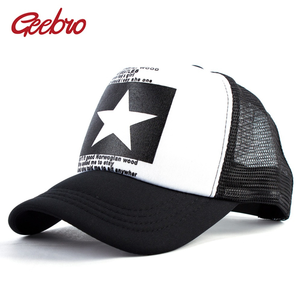 Geebro 2018 Summer Star Snapback Baseball Cap Men Sunshade Mesh Net Hat  Women Casual Advocate Sports ... 47fdf49c882