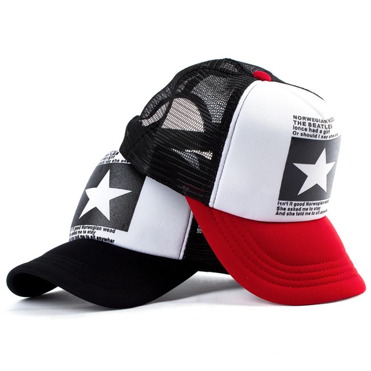 b659064b9e0 ... Geebro 2018 Summer Star Snapback Baseball Cap Men Sunshade Mesh Net Hat  Women Casual Advocate Sports ...