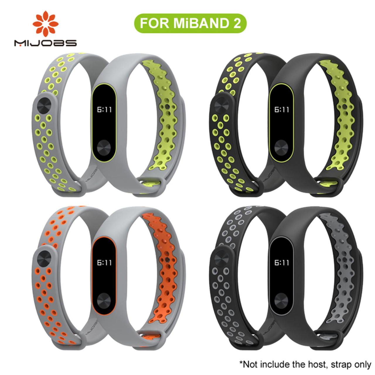 Mijobs Xiaomi Mi Band 2 Strap Sport Miband Bracelet For Oled Replacement Stainless Steel Silver