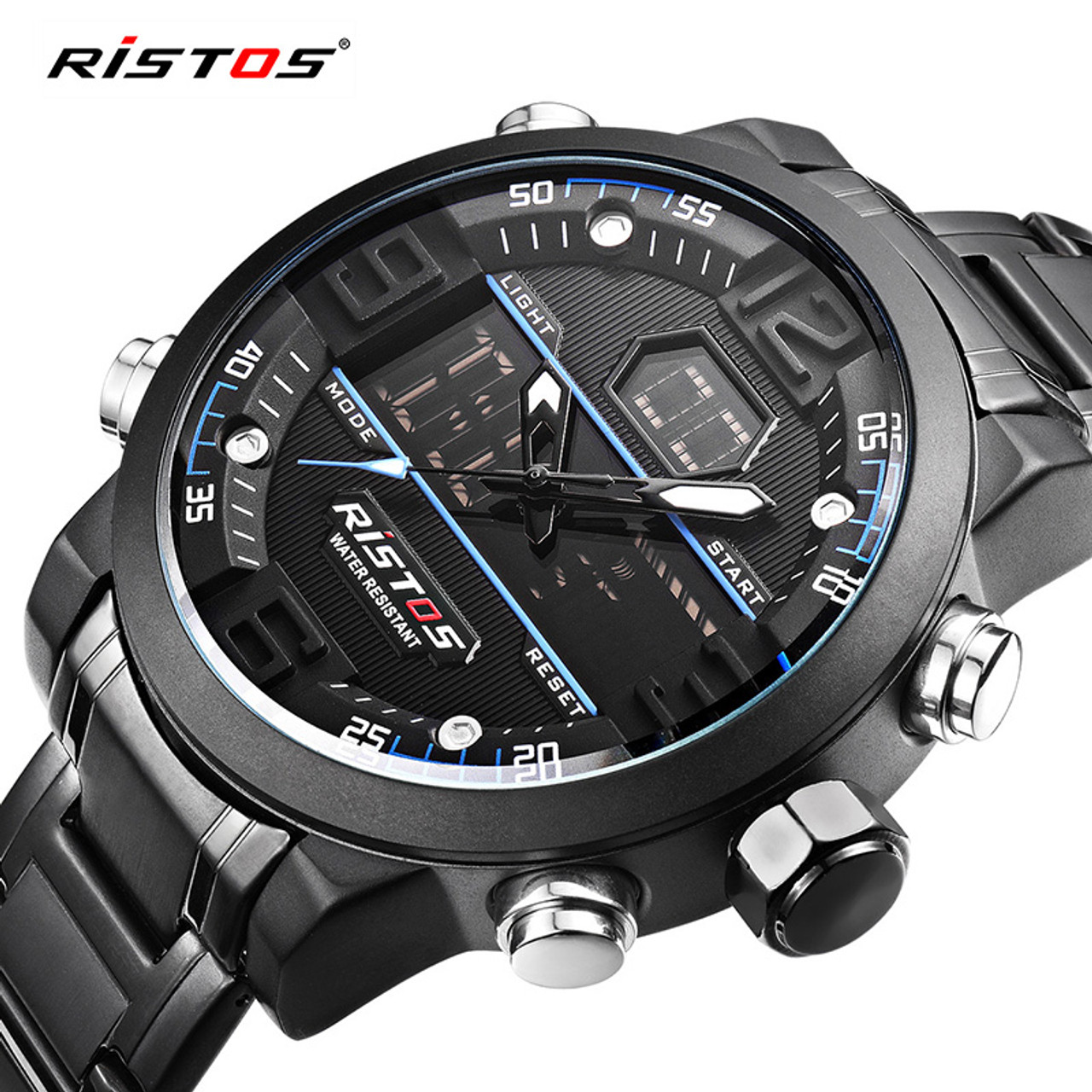 5f63f70836cc RISTOS Relojes Masculino Hombre Fashion Multifunction Steel Men Sport  Watches Chronograph Digital Waterproof Wristwatch New 9338 ...