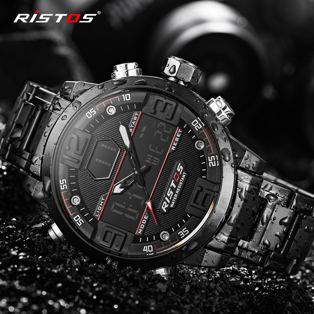 b4b175d863cd ... RISTOS Relojes Masculino Hombre Fashion Multifunction Steel Men Sport  Watches Chronograph Digital Waterproof Wristwatch New 9338 ...