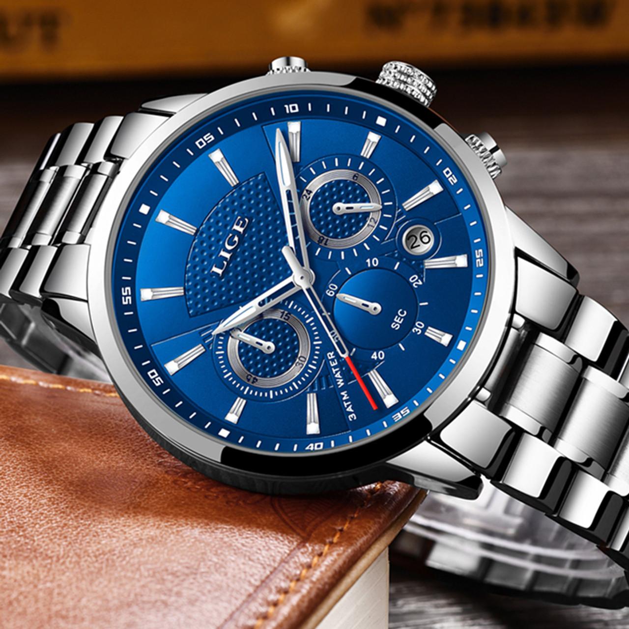 317f962902e LIGE Mens Watches Top Brand Luxury Fashion Business Quartz Watch Men Sport  Full Steel Waterproof Black ...