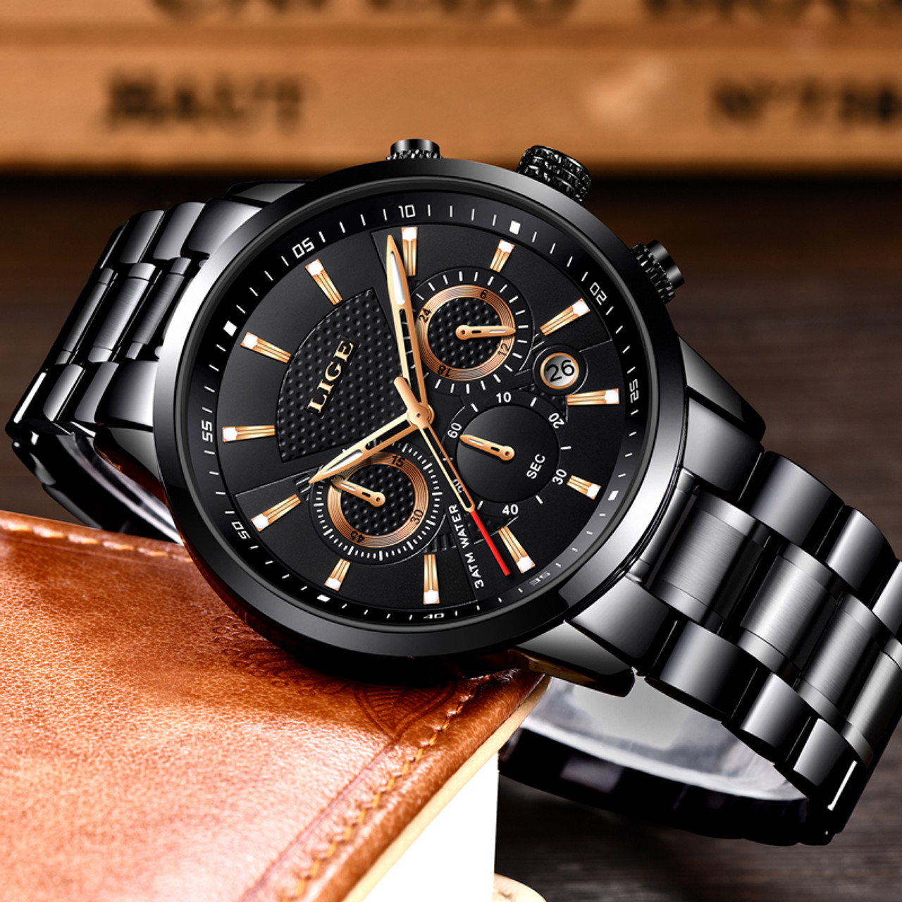 676891412 ... LIGE Mens Watches Top Brand Luxury Fashion Business Quartz Watch Men  Sport Full Steel Waterproof Black ...
