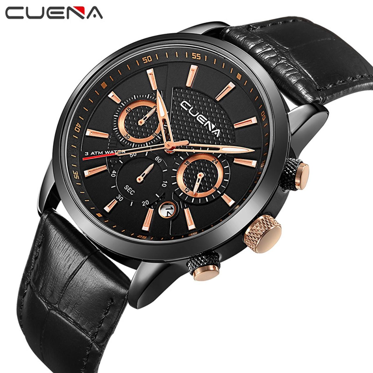 7e1b90f5e192 CUENA Brand Fashion Casual Watches Men Watch Genuine Leather Relojes  Waterproof Quartz Wristwatches Man Clock Relogio ...