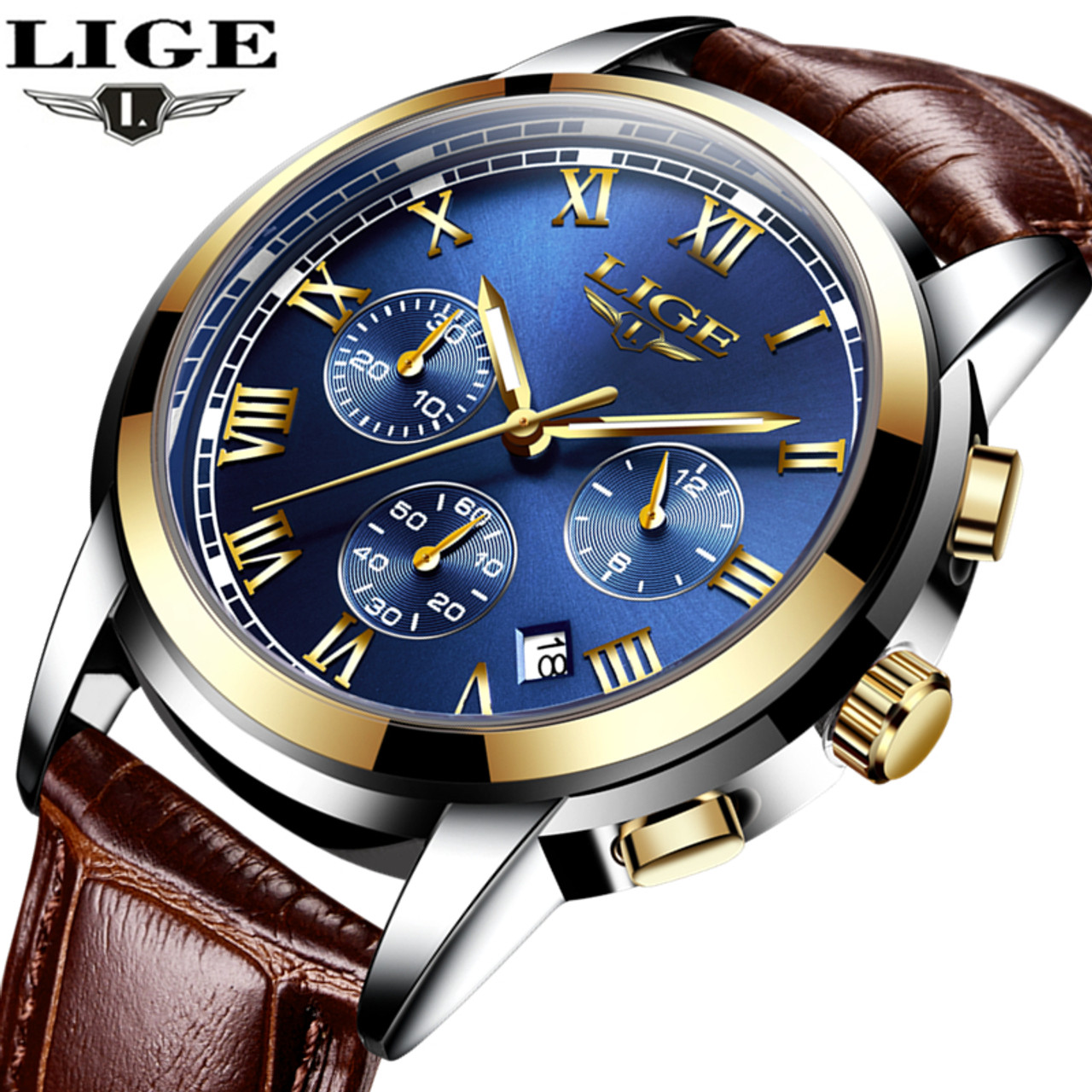 a2cb76b1aeb LIGE Mens Watches Top Brand Luxury Leather Casual Quartz Watch Men Military  Sport Waterproof Clock Gold ...