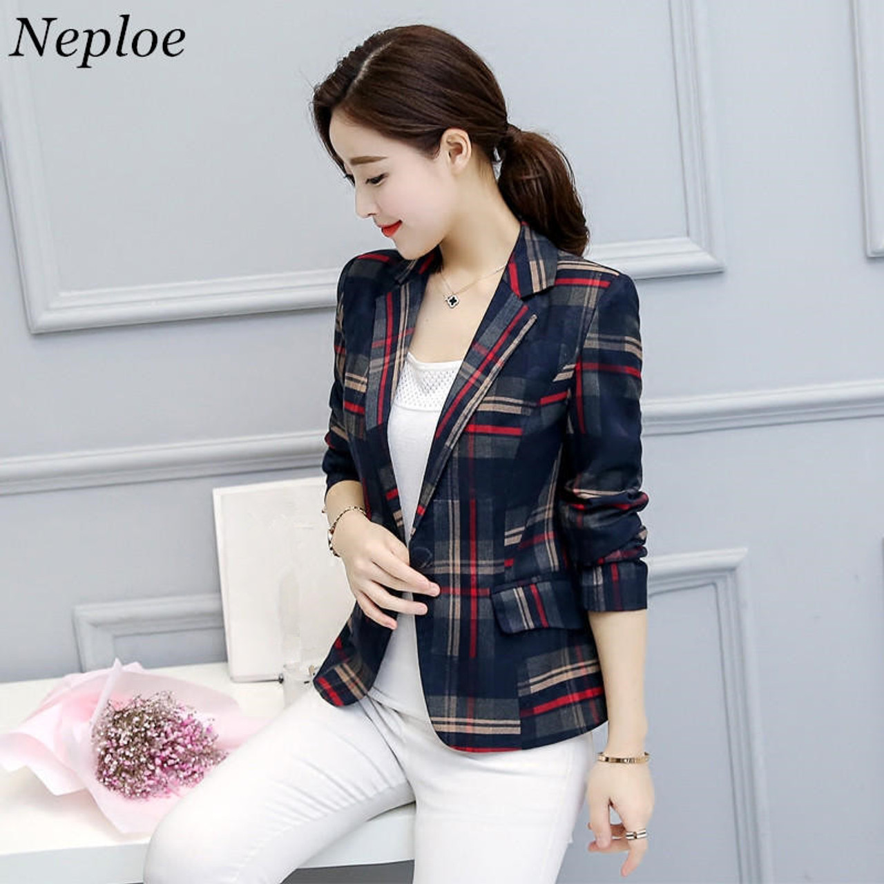 a56b7d305a315 Neploe Elegant Short Blazer 2018 Spring Single Button Long Sleeves Plaid Jackets  Ladies Office Wear Blazers ...