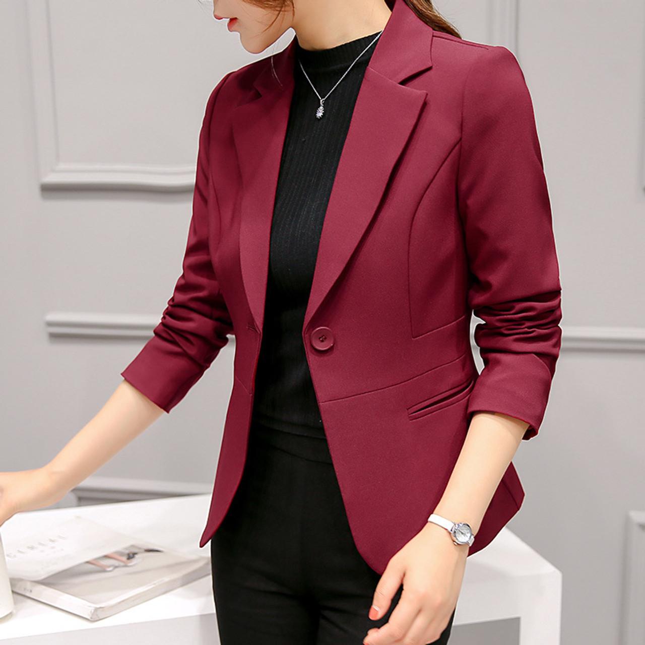 PEONFLY Ladies Blazers 2018 New Fashion Single Button Blazer Women Suit  Jacket bule/red Blaser Female Blazer Femme - OnshopDeals.Com