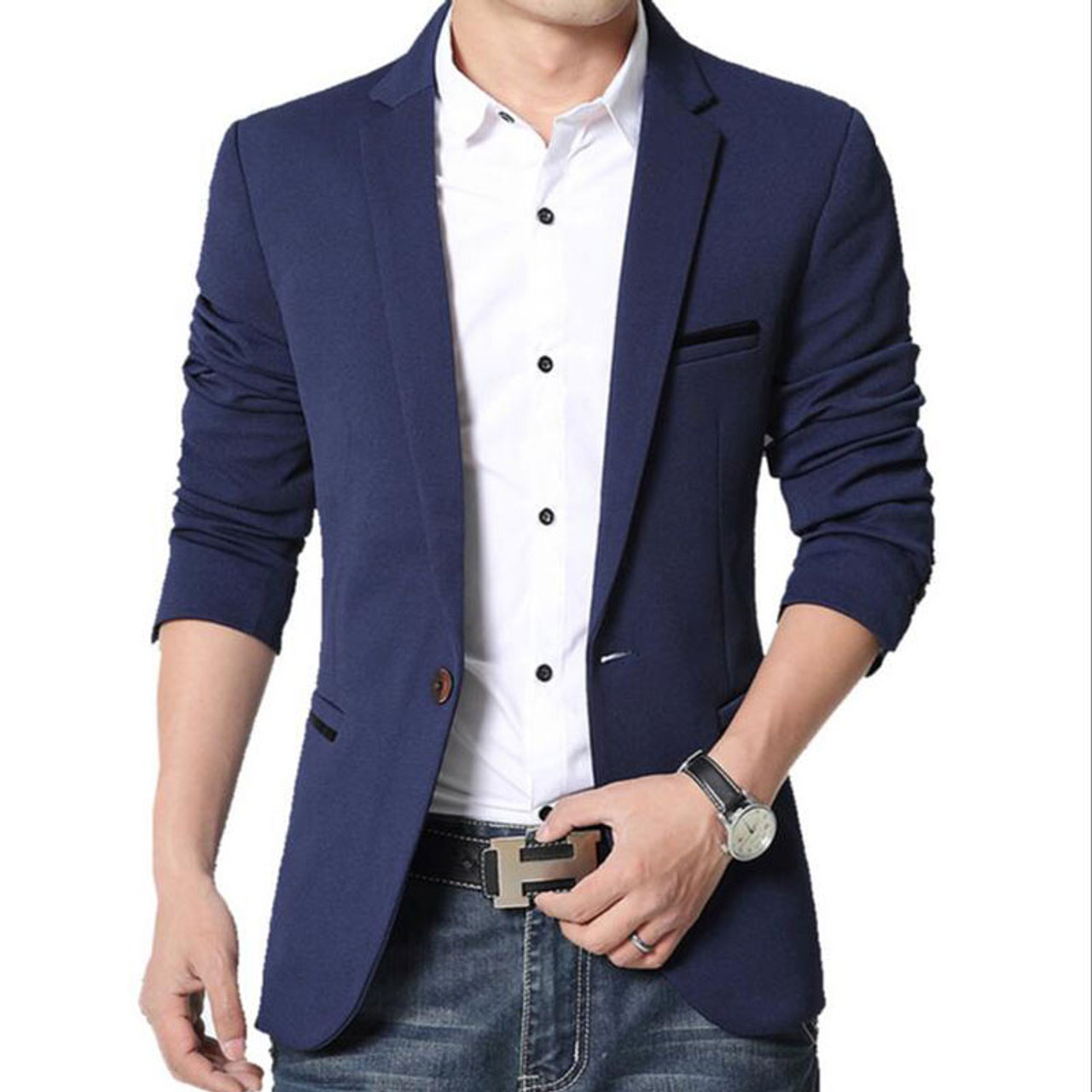 dc7d224a5bdf RUMEIAI Mens Korean slim fit fashion cotton blazer Suit Jacket black blue  plus size M- ...